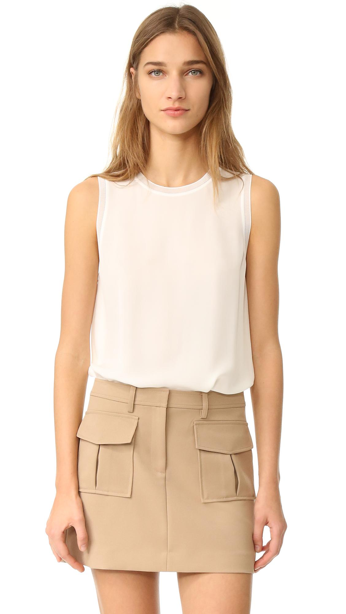 Theory Lewie Sleevless Top In White Lyst