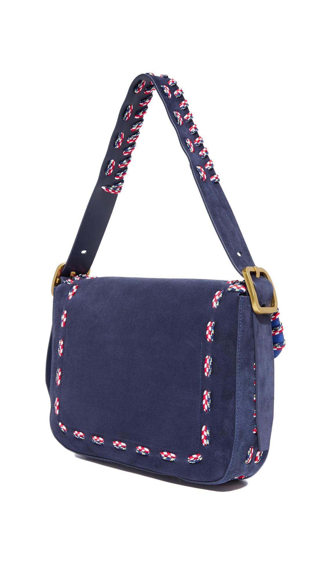 1683e612bdf6 Tory Burch Sawyer Stitch Shoulder Bag in Blue - Lyst
