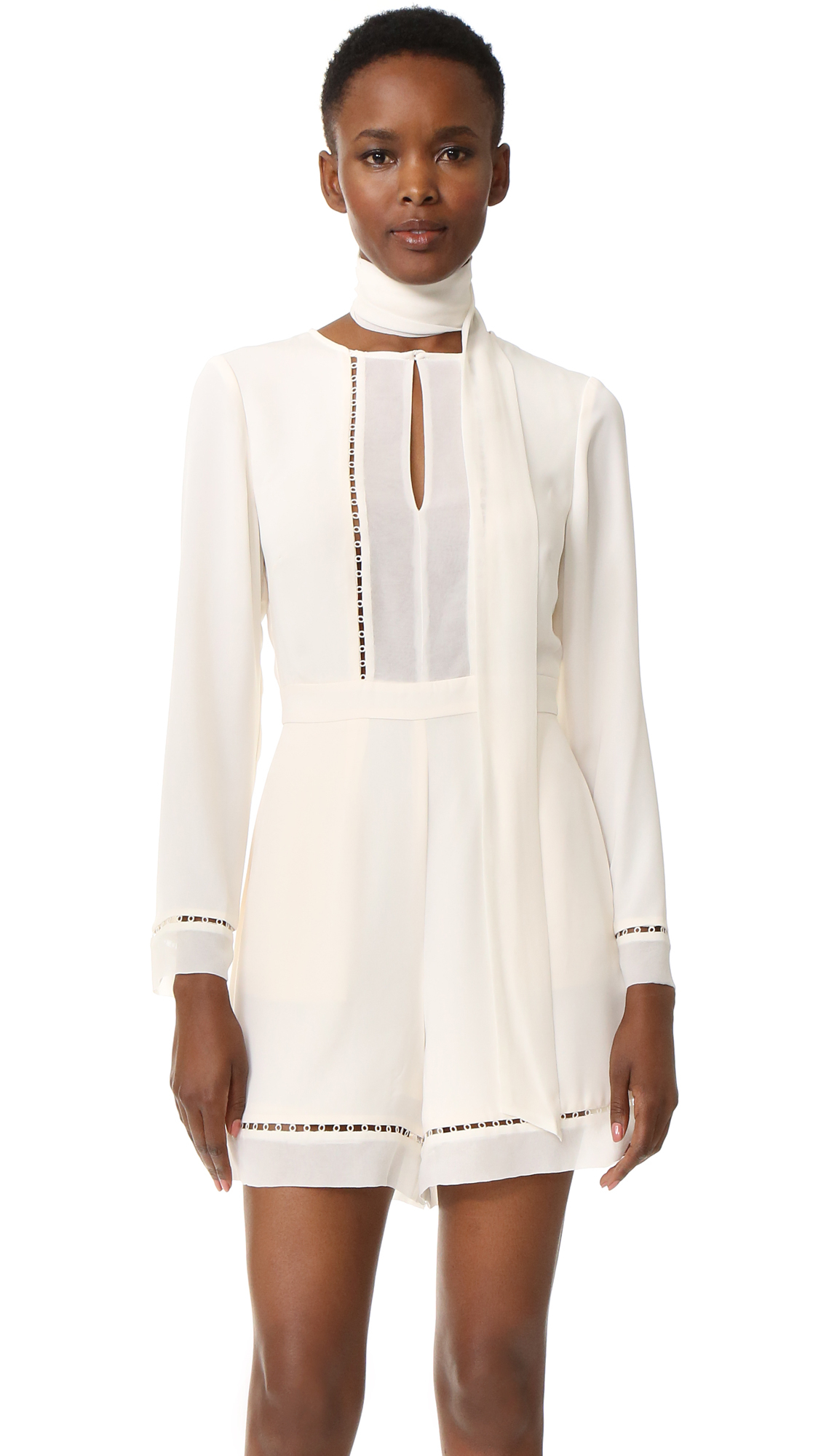 9b8de0f19956 Lyst - Zimmermann Tie Neck Playsuit in White