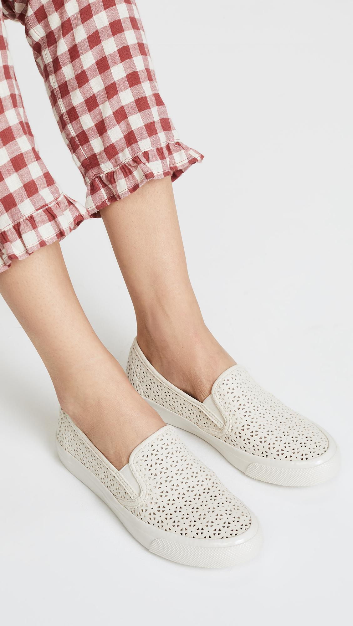 f5b0c1741a1 Sperry Top-Sider Seaside Nautical Perf Slip On Sneakers in White - Lyst