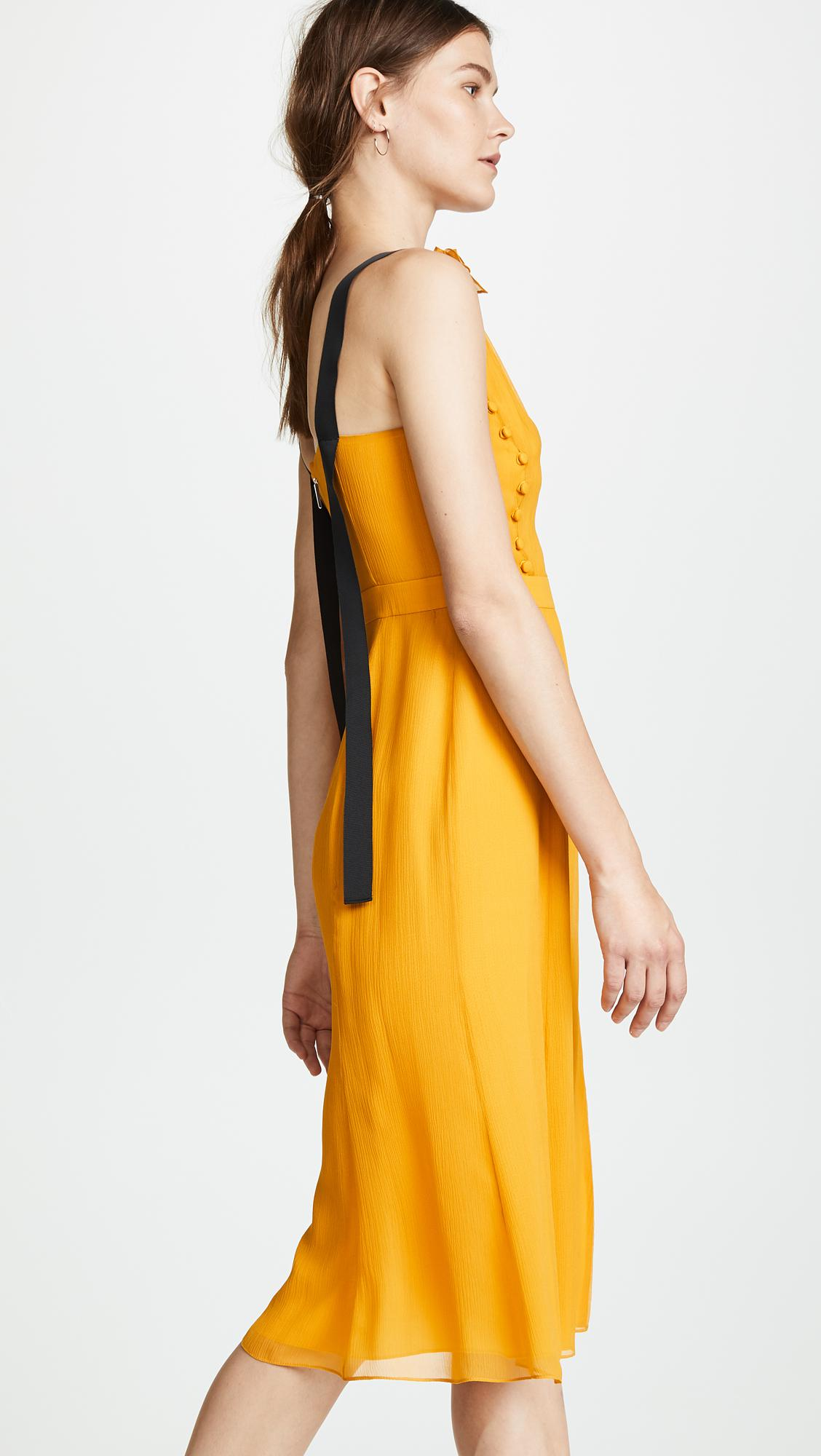 Lyst - Prabal Gurung Deep V Silk Dress With Button Detail in Yellow 53bbf4886