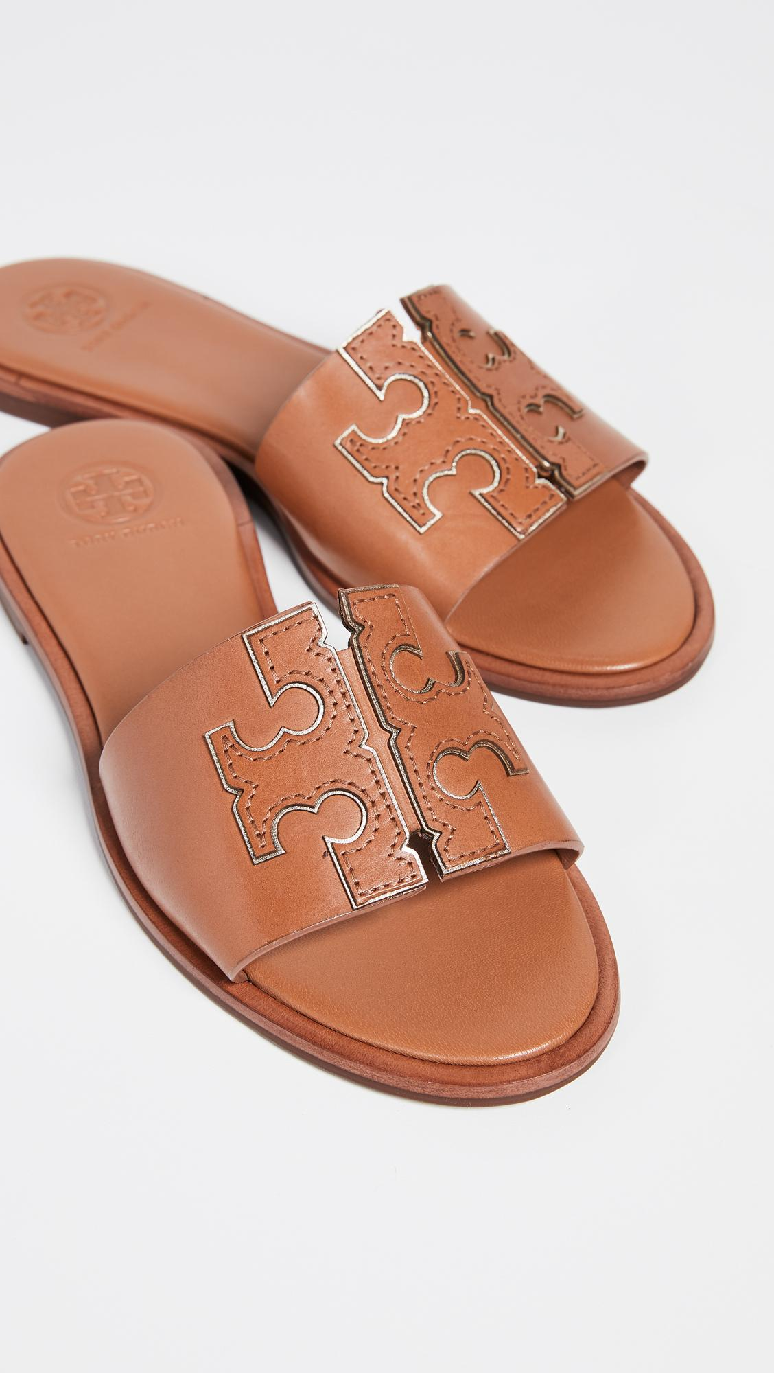a04c442b107a Tory Burch Ines Slide Sandals in Brown - Lyst