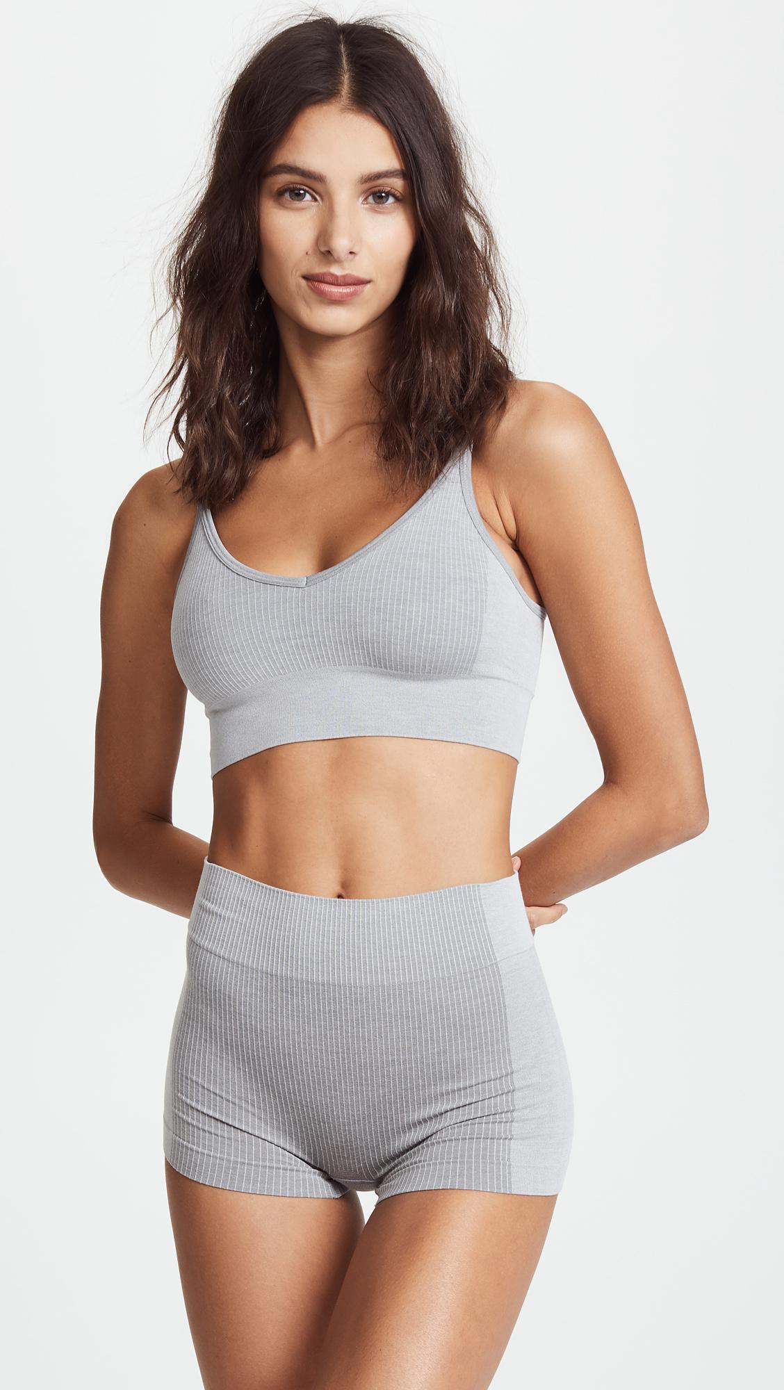 9ed9d64d80763 Lyst - Spanx Laidback Layers Seamless Bralette in Gray
