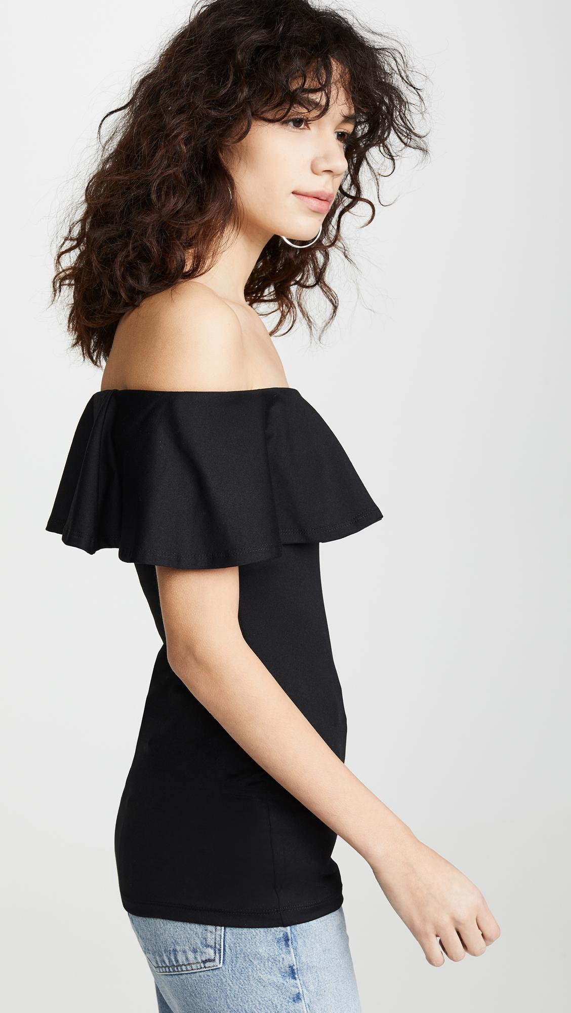6823bfaa8ee84 Susana Monaco - Black Ruffle Off Shoulder Top - Lyst. View fullscreen