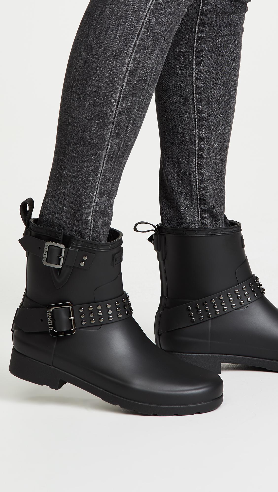 ce1dad37a68 HUNTER Refined Stud Biker Boots in Black - Lyst