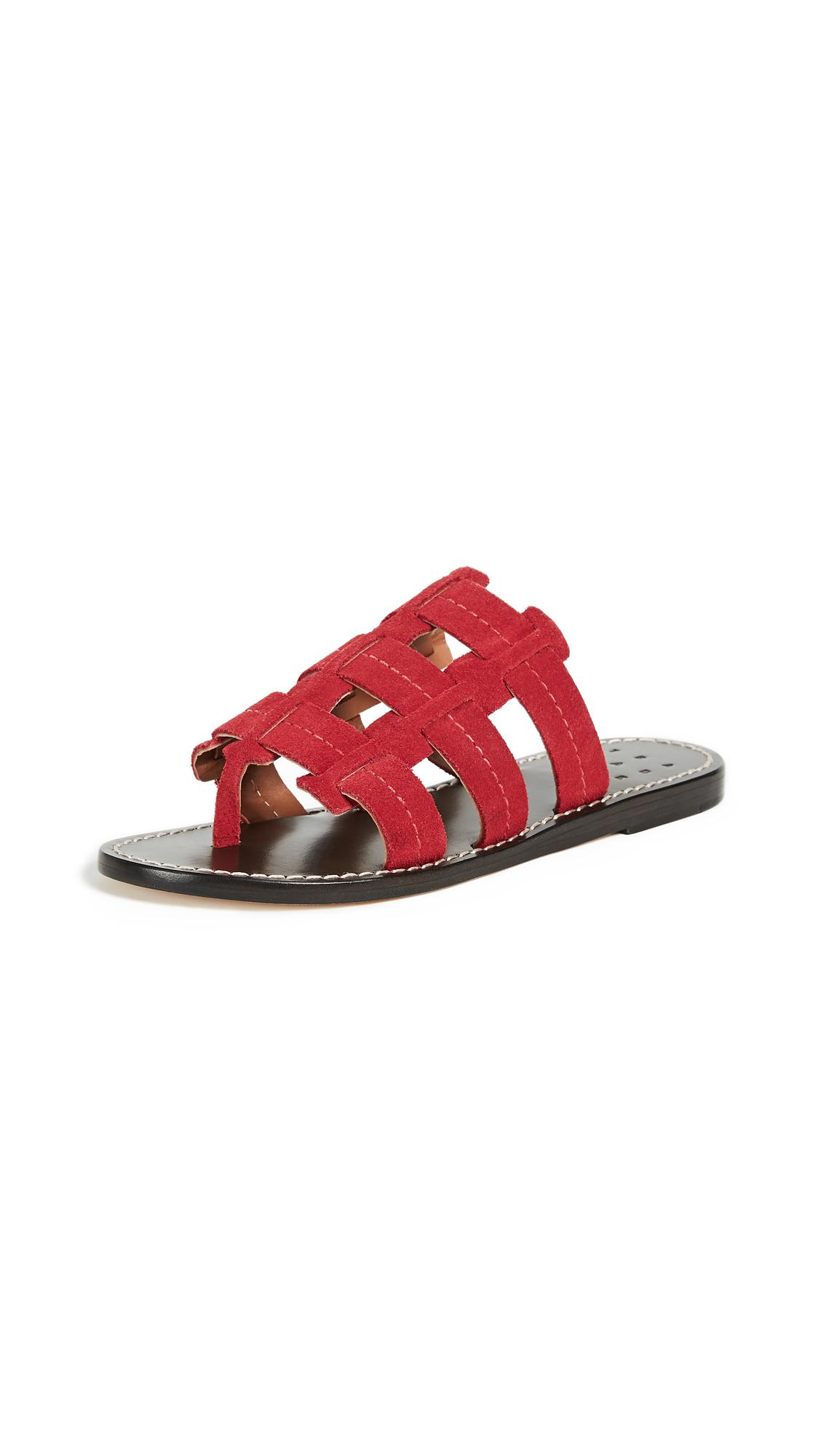 Cage Suede Sandals - Red Trademark Nescu