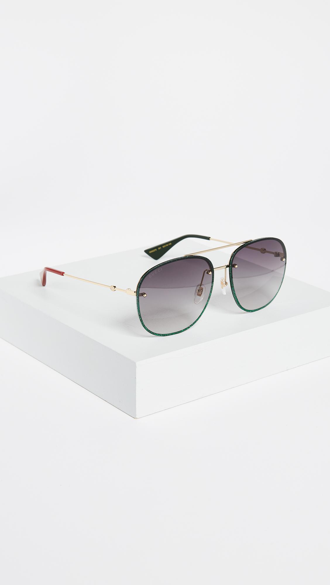4132f1d2d14c Gucci Urban Web Block Glitter Aviator Sunglasses - Lyst