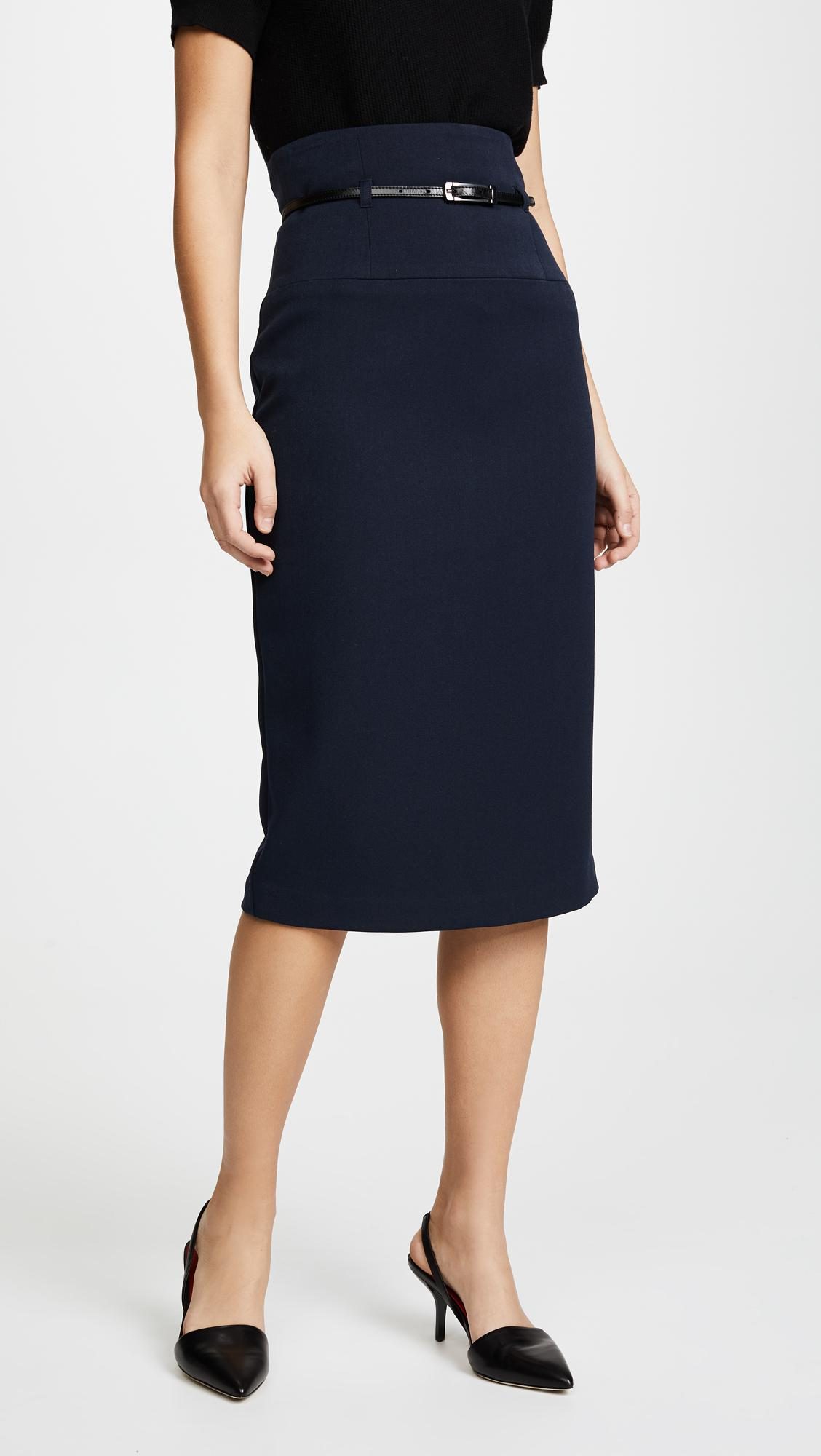 lyst black halo high waisted pencil skirt in black
