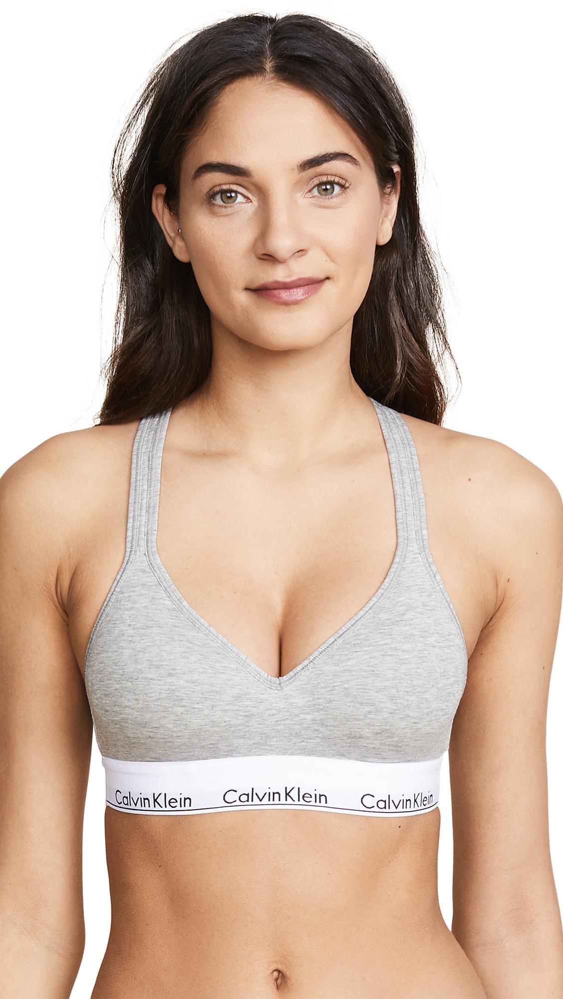 e6982eb95f Lyst - Calvin Klein Modern Cotton Lightly Lined Bralette in Gray