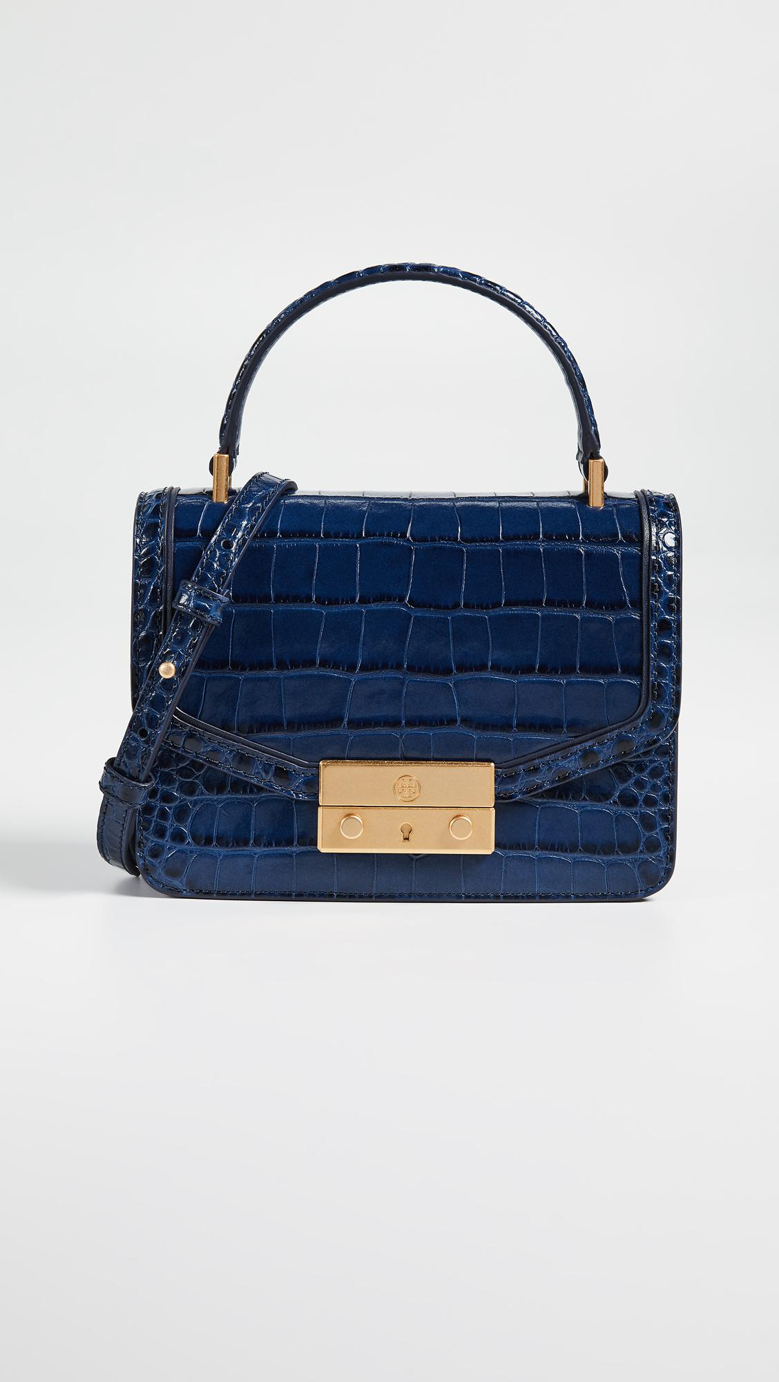 1fa8181ced99 Lyst - Tory Burch Juliette Embossed Mini Top Handle Satchel in Blue