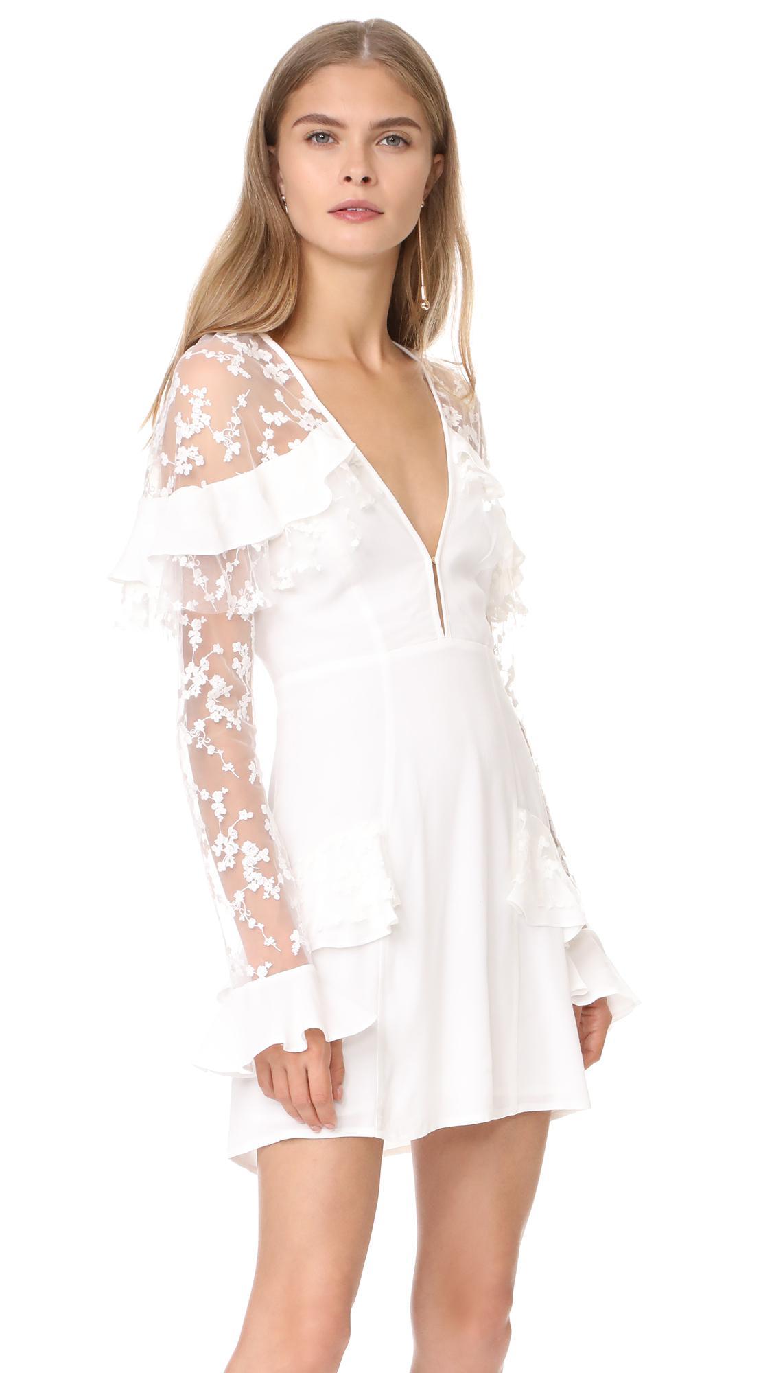 cdabc1b5e791 For Love & Lemons Rosebud Embroidery Mini Dress in White - Lyst