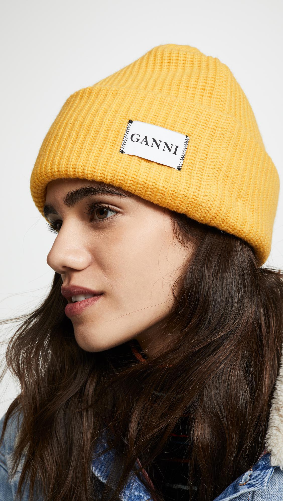 Lyst - Ganni Hatley Knit Hat in Yellow 6c7e978903f5