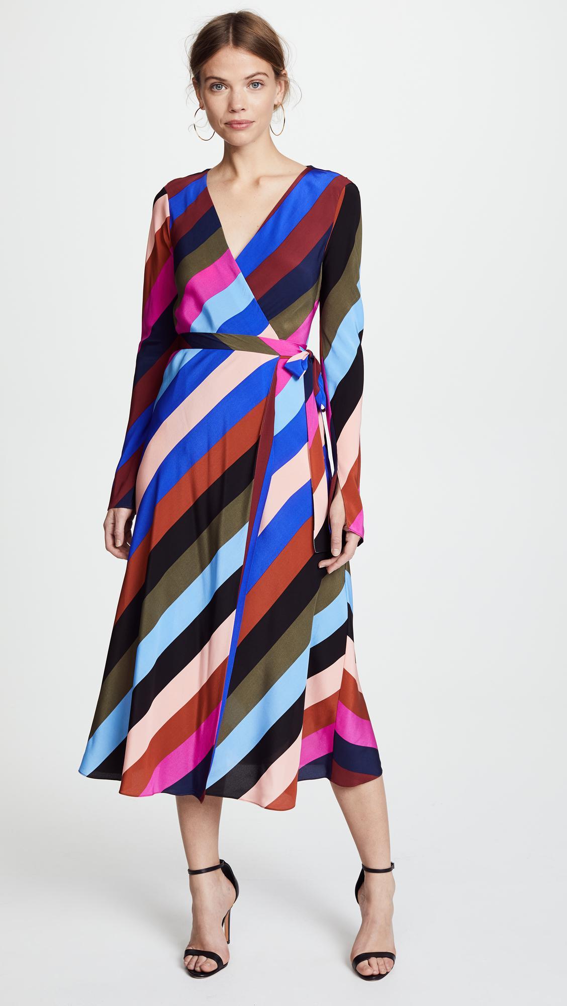 Diane Von Furstenberg Silk Midi Wrap Dress In Blue Lyst