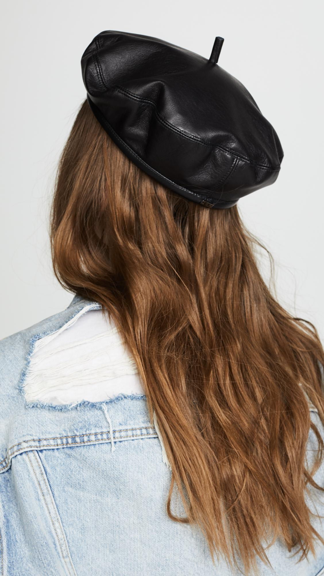 55c7e84feca32 Eugenia Kim Carter Leather Beret in Black - Save 30% - Lyst