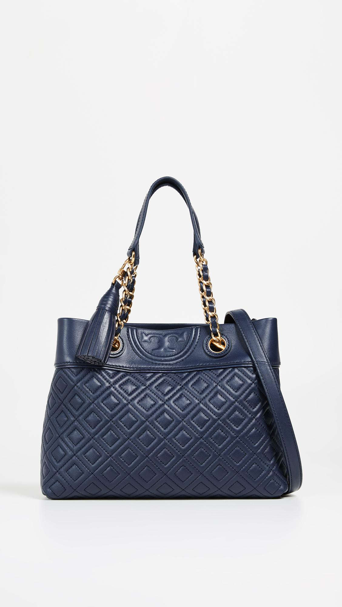 23bc803c647f Lyst - Tory Burch Fleming Small Tote Bag in Blue