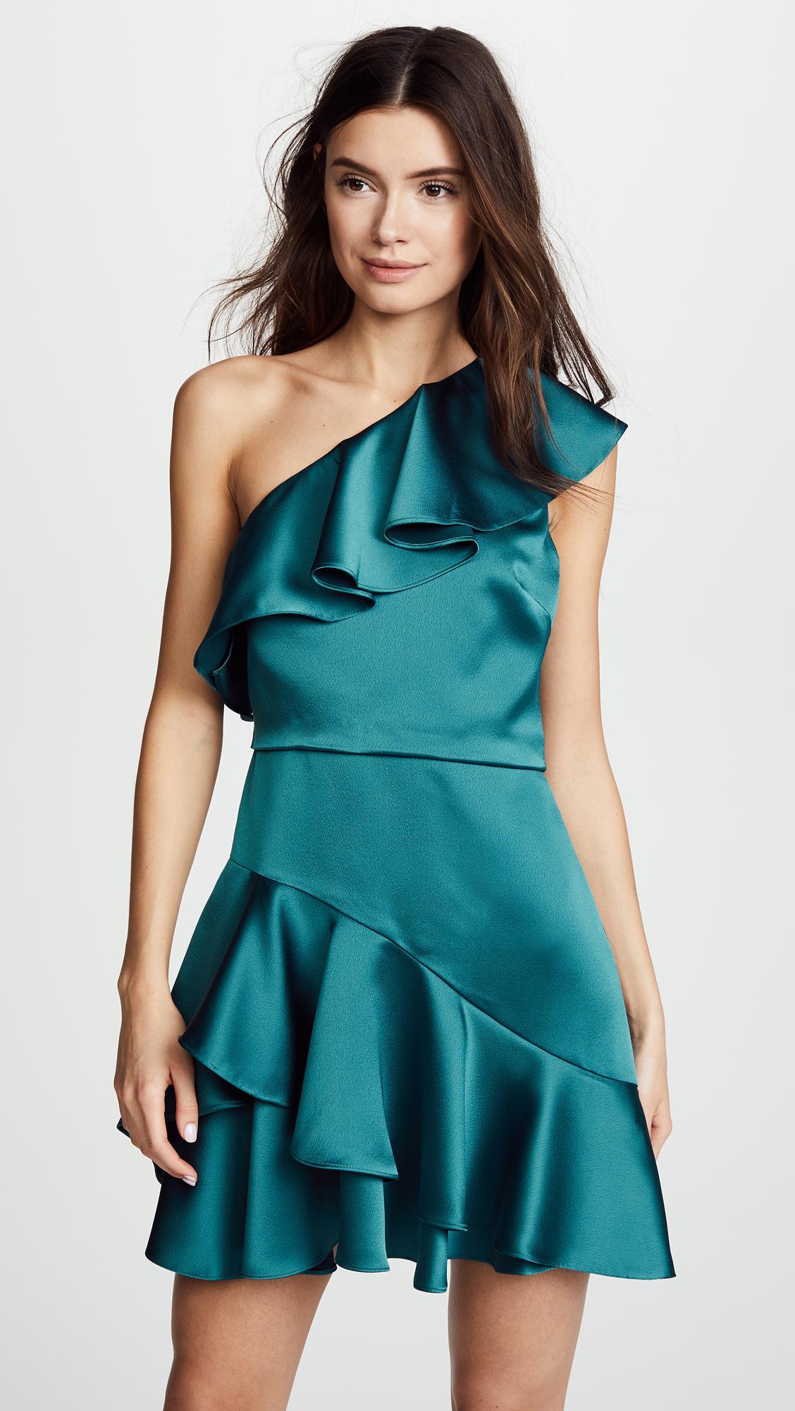 Lyst - Halston Heritage One Shoulder Flounce Dress in Blue