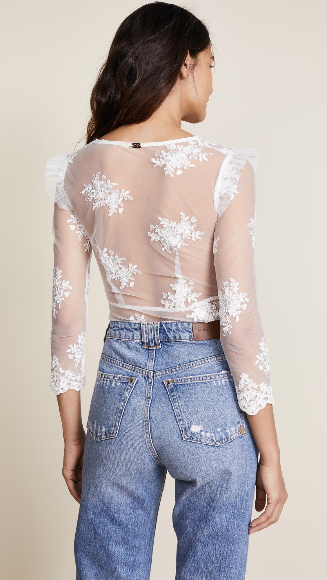 For Love   Lemons Amber Scallop Edge Thong Bodysuit in White - Lyst cf63463b3
