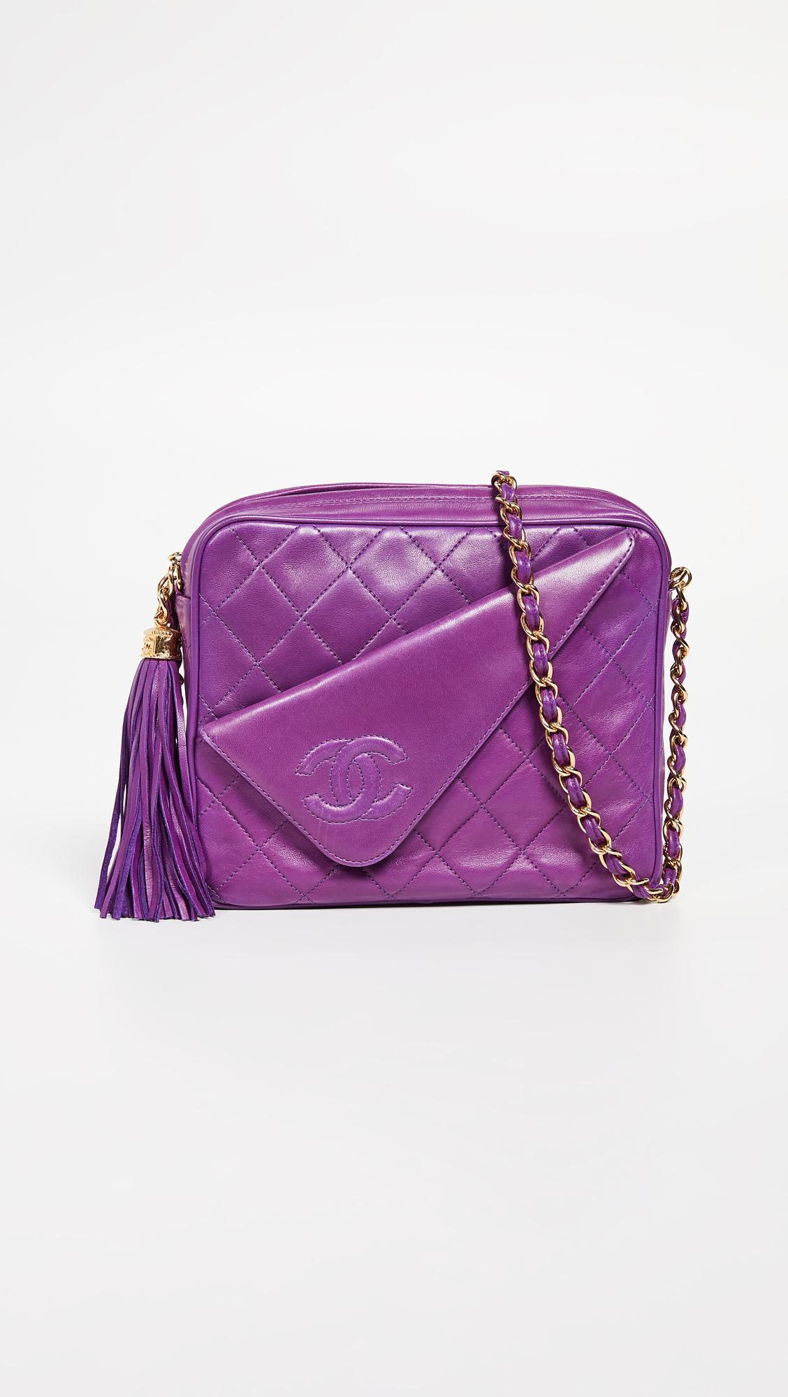 b85d18560adf What Goes Around Comes Around Chanel Purple Lambskin Medium Camera ...
