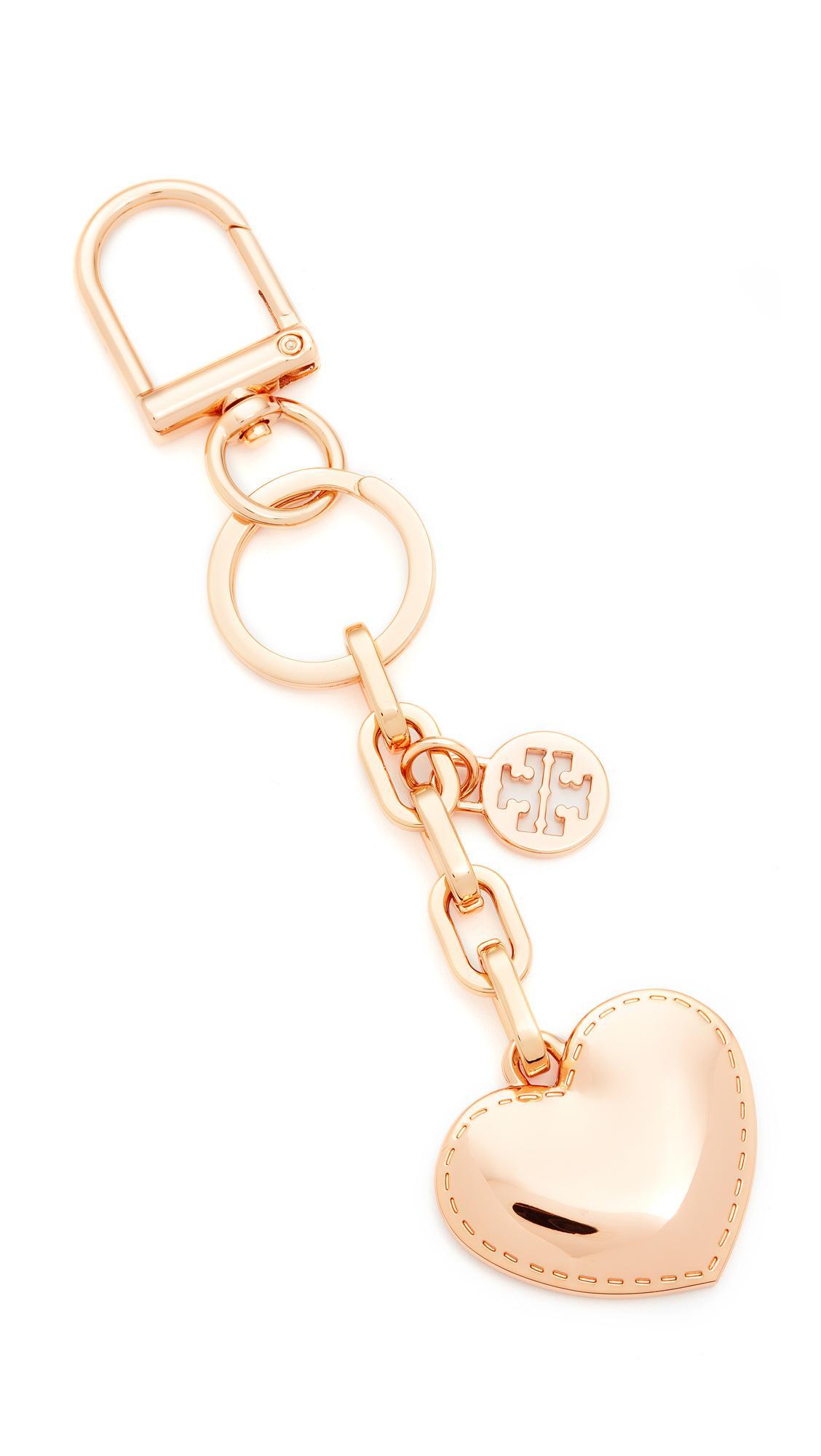 e2fd3b939f5e Lyst - Tory Burch Logo   Heart Metal Key Fob in Metallic
