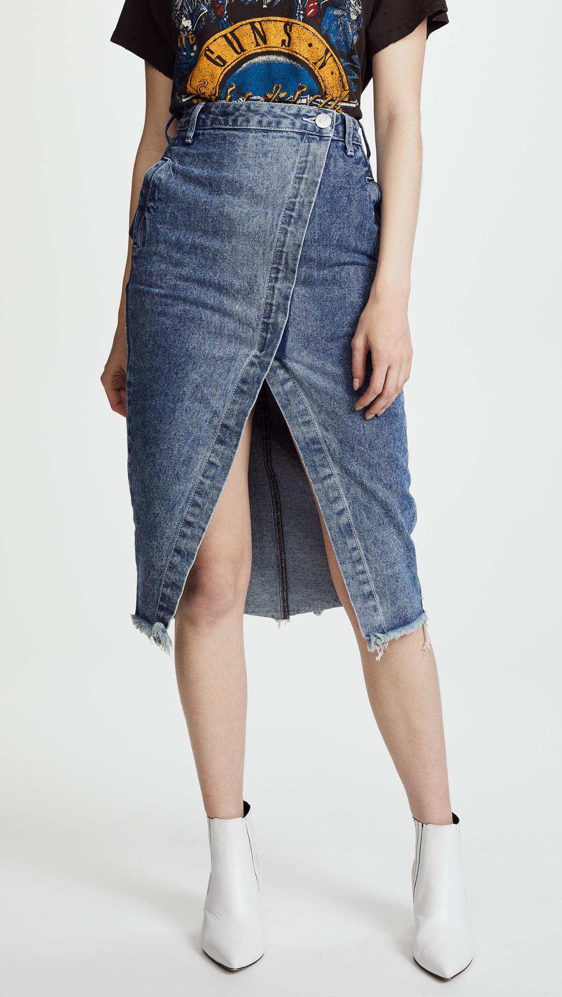 9a3adbbd5e One Teaspoon Blue Society Wrap Denim Skirt in Blue - Lyst