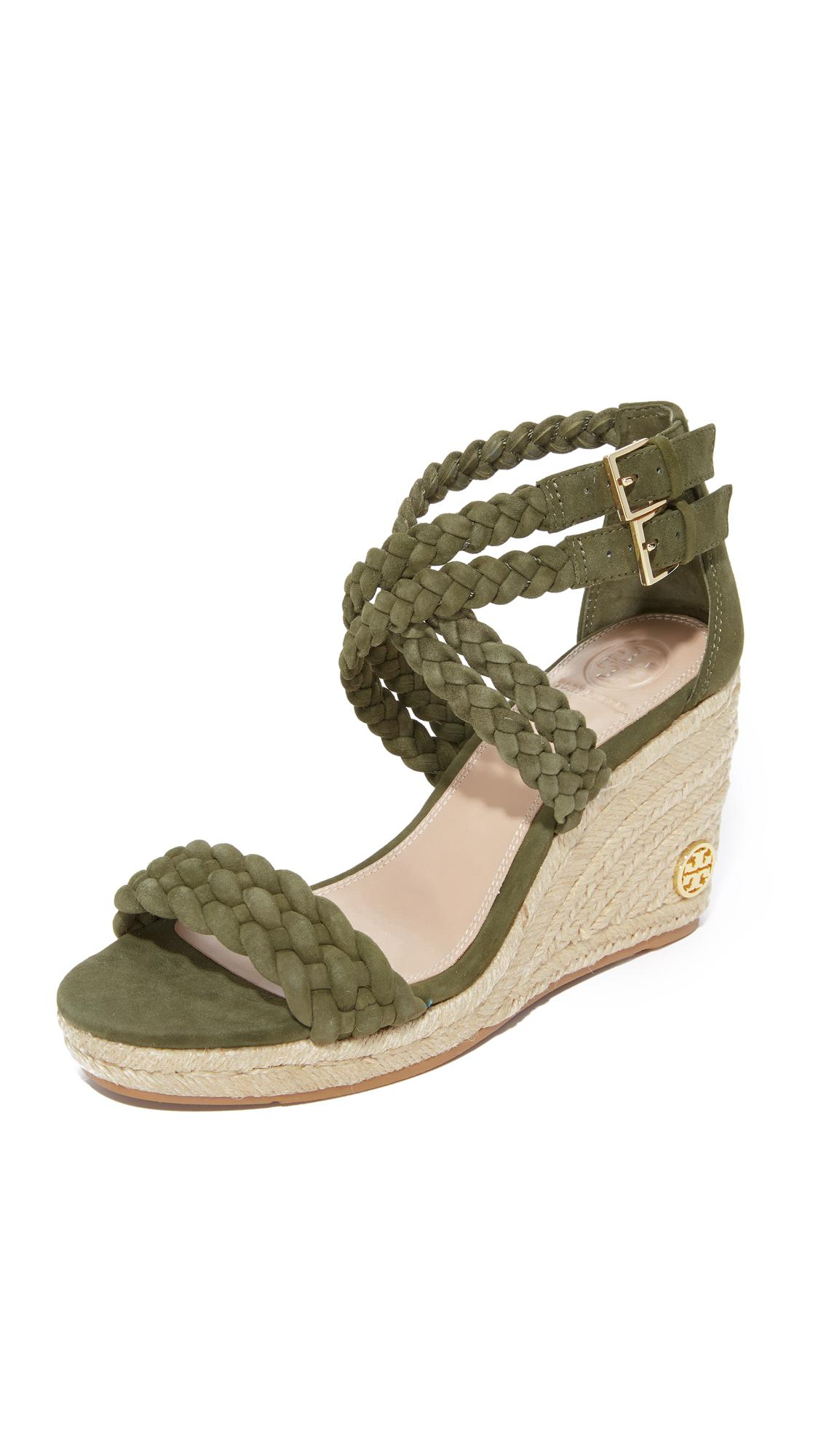 1177ac94d64a Lyst - Tory Burch Bailey 90mm Ankle Strap Wedge Espadrilles in Green
