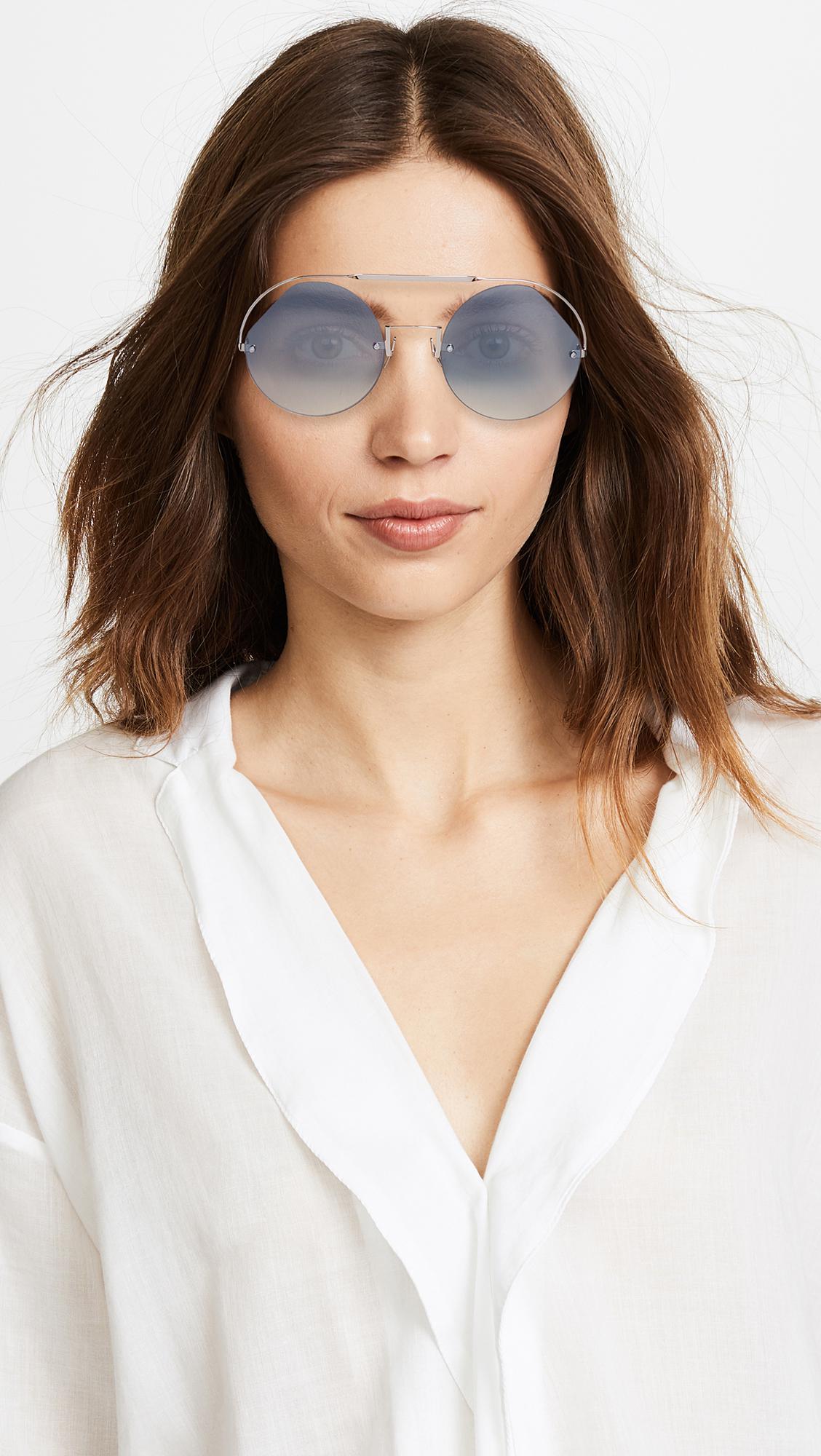 0dbe517021b0 Fendi Cut Out Round Aviator Sunglasses in Blue - Lyst
