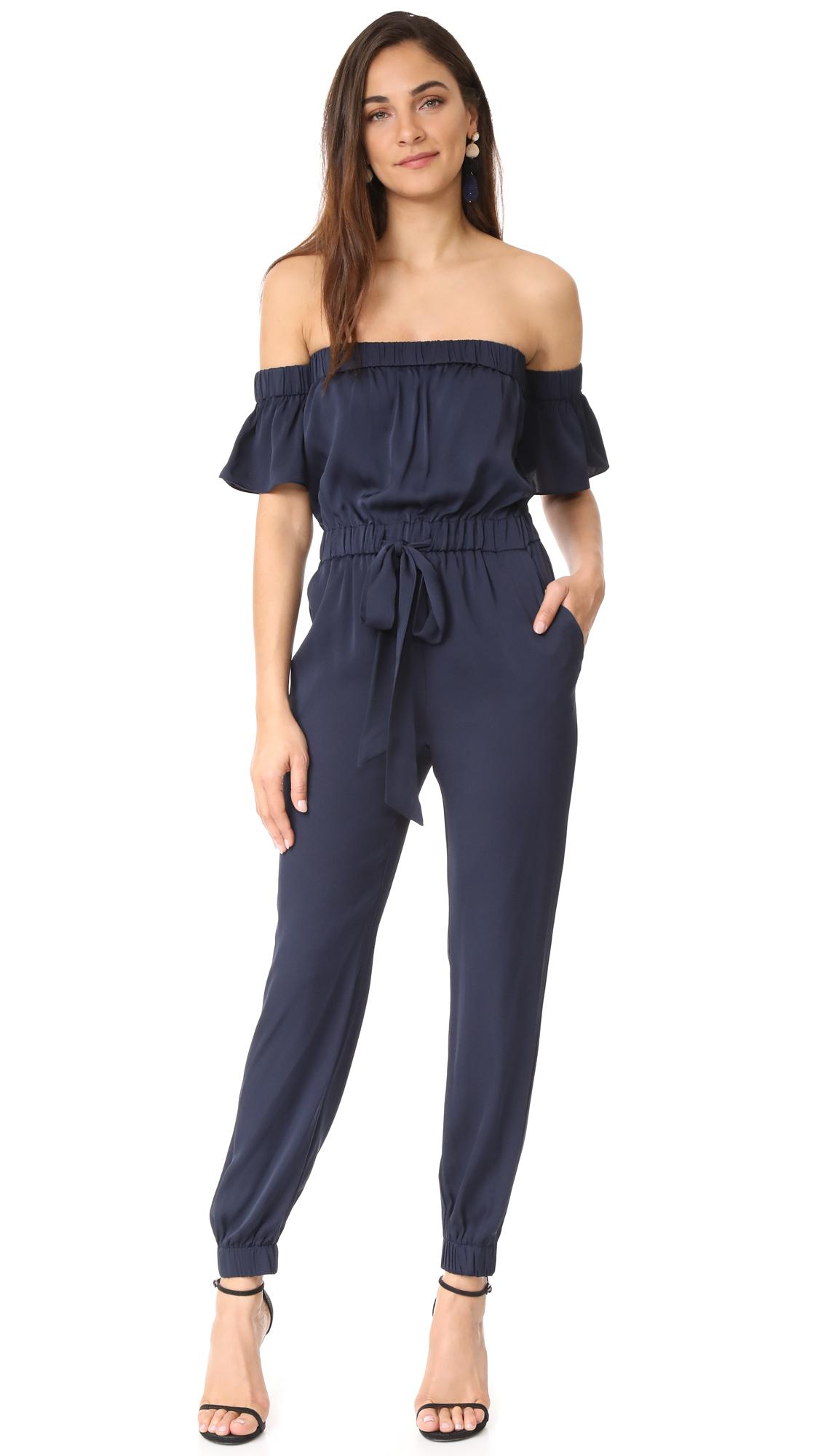 2667ef359a65 Lyst - MILLY Silk Maxime Jumpsuit in Blue