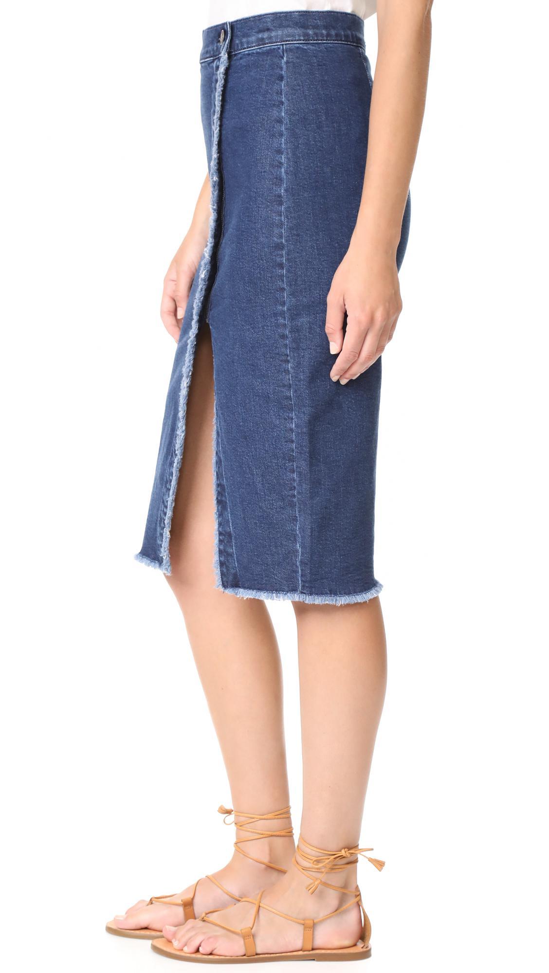 68aa00372 Madewell Raw Hem Denim Midi Skirt – DACC