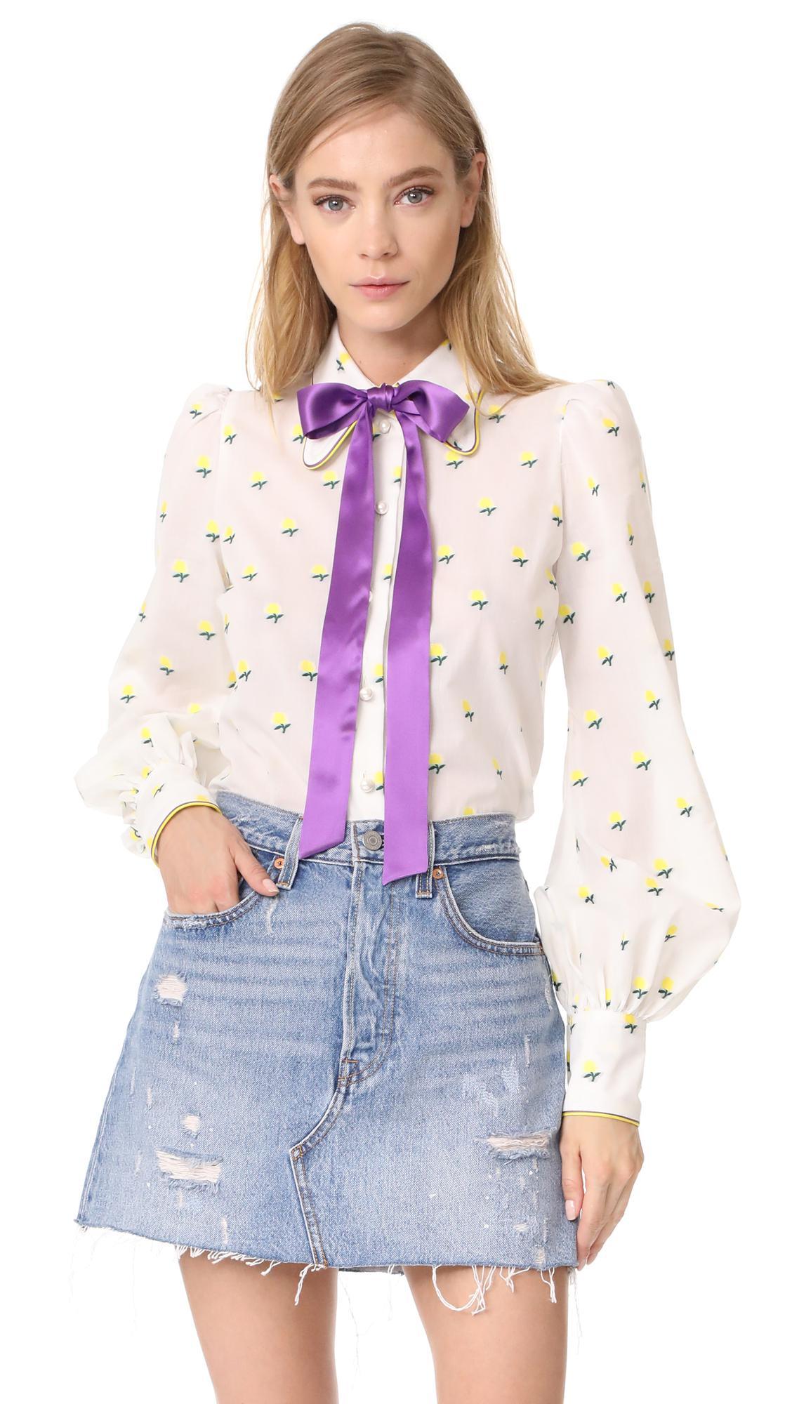 5d018f1454587 Lyst - Marc Jacobs Tie Neck Blouse