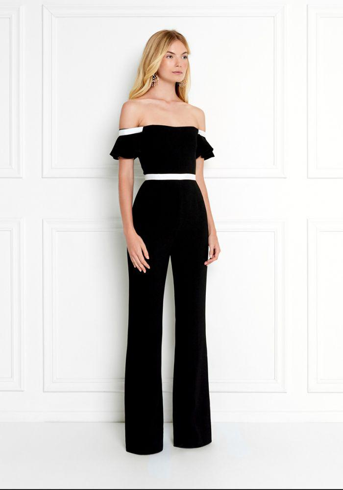 Dove Off-the-shoulder Crepe Jumpsuit - Black Rachel Zoe Outlet Finishline Clearance Outlet Locations Clearance Classic Cheap Sale Low Price Fee Shipping y1XHD