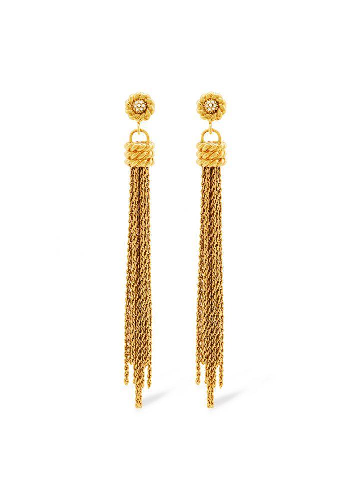 Rachel Zoe Harp Fringe Earrings Gold F7DIi