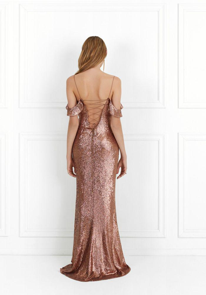 Rachel Zoe Woman Cold-shoulder Sequined Crepe Gown Copper Size 12 Rachel Zoe DZuXj