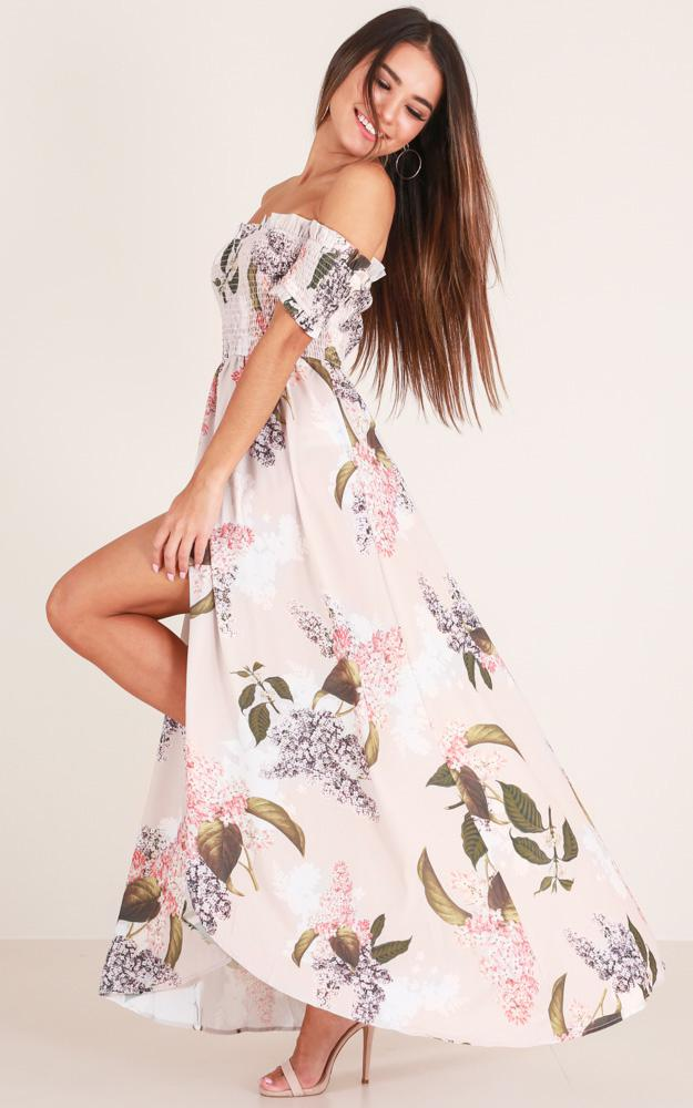 384156b42fa6 Lyst - Showpo Hold On To Me Maxi Dress In Beige Floral