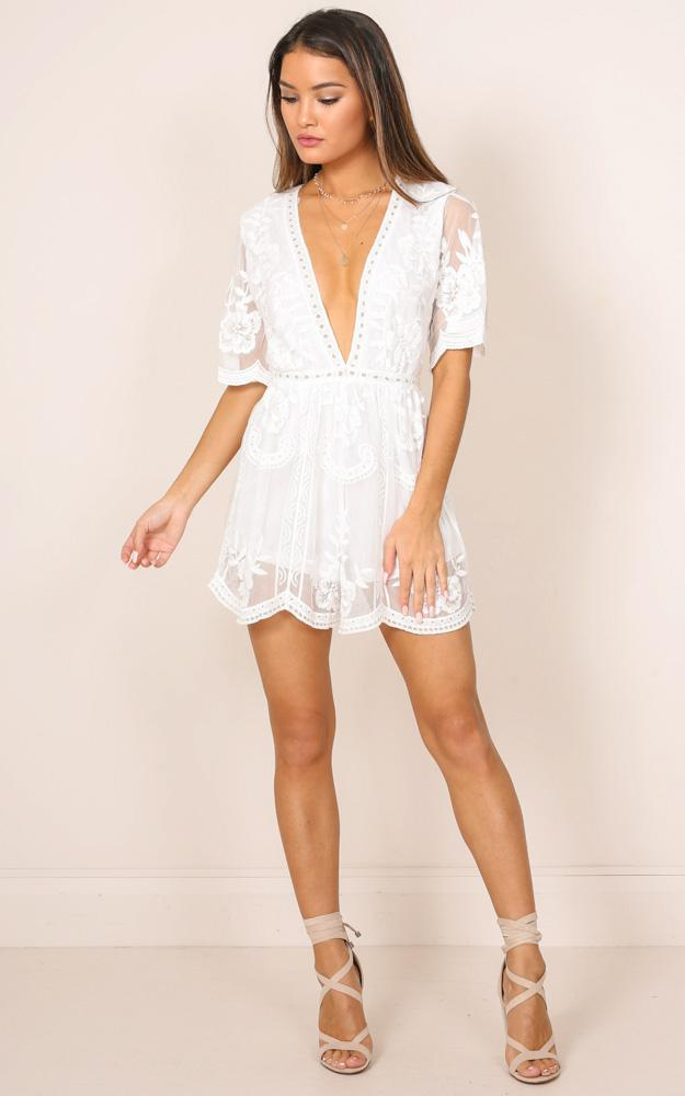 20c4985dd390 Showpo Face The Music Playsuit In White Lace in White - Lyst