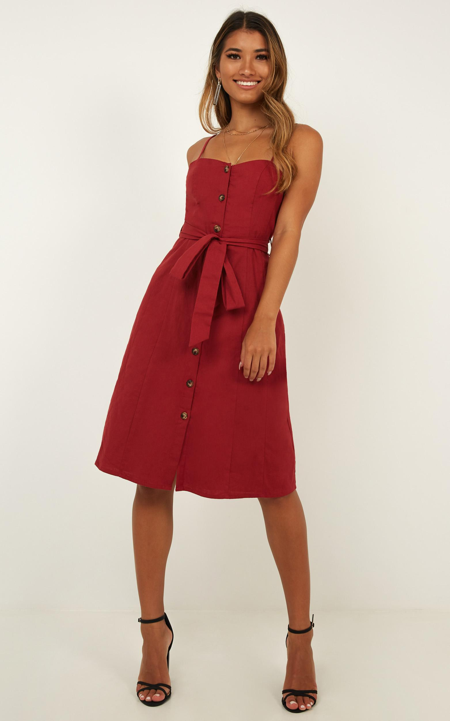 ff8d135ff26c Lyst - Showpo Nothing But You Dress In Chilli Linen Look in Red