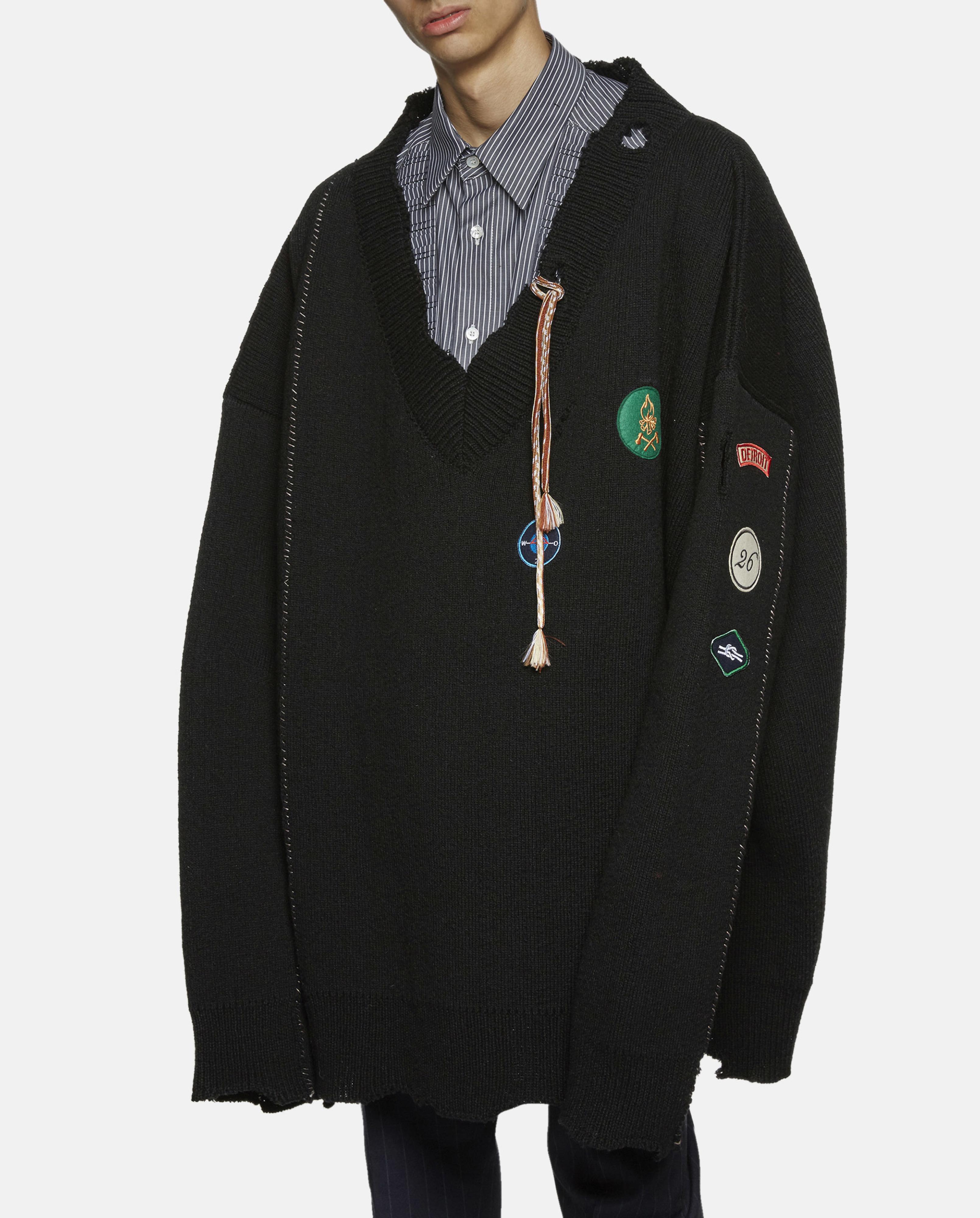 Lyst Raf Simons Oversized Destroyed V Neck Knit Sweater