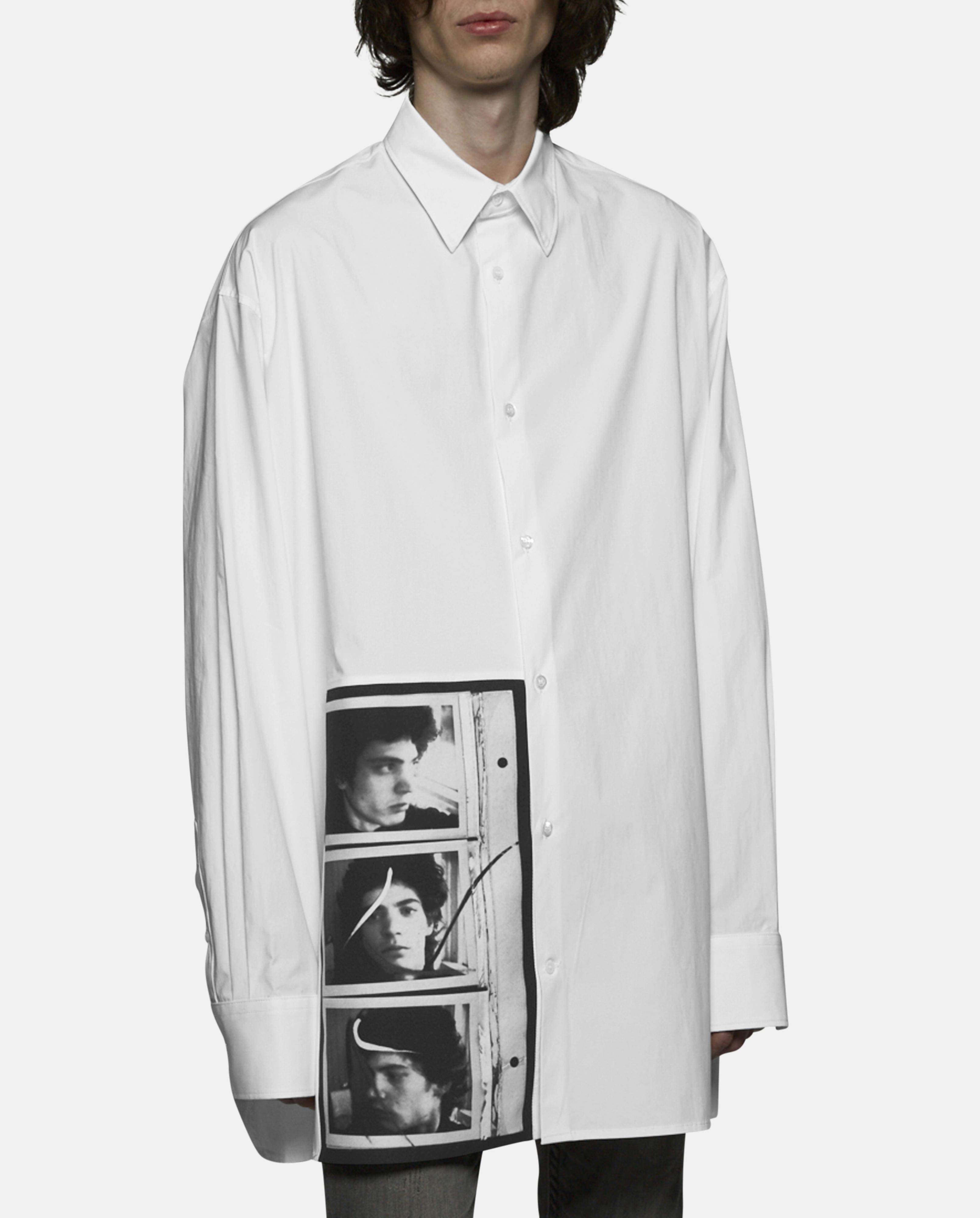 Raf simons oversized self portrait shirt in gray for men for Raf simons robert mapplethorpe shirt
