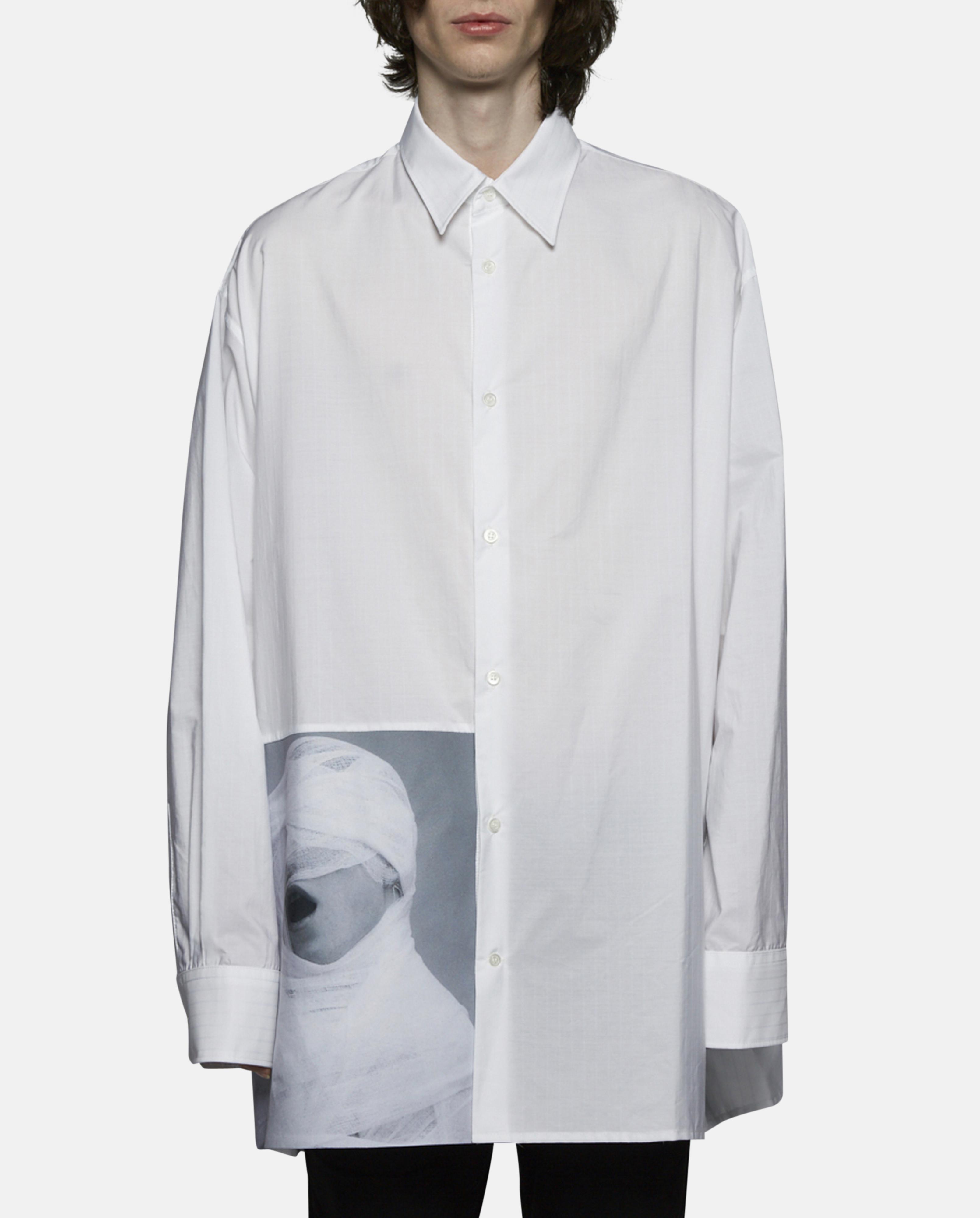 Raf simons oversized white gauze shirt in white for men lyst for Raf simons robert mapplethorpe shirt