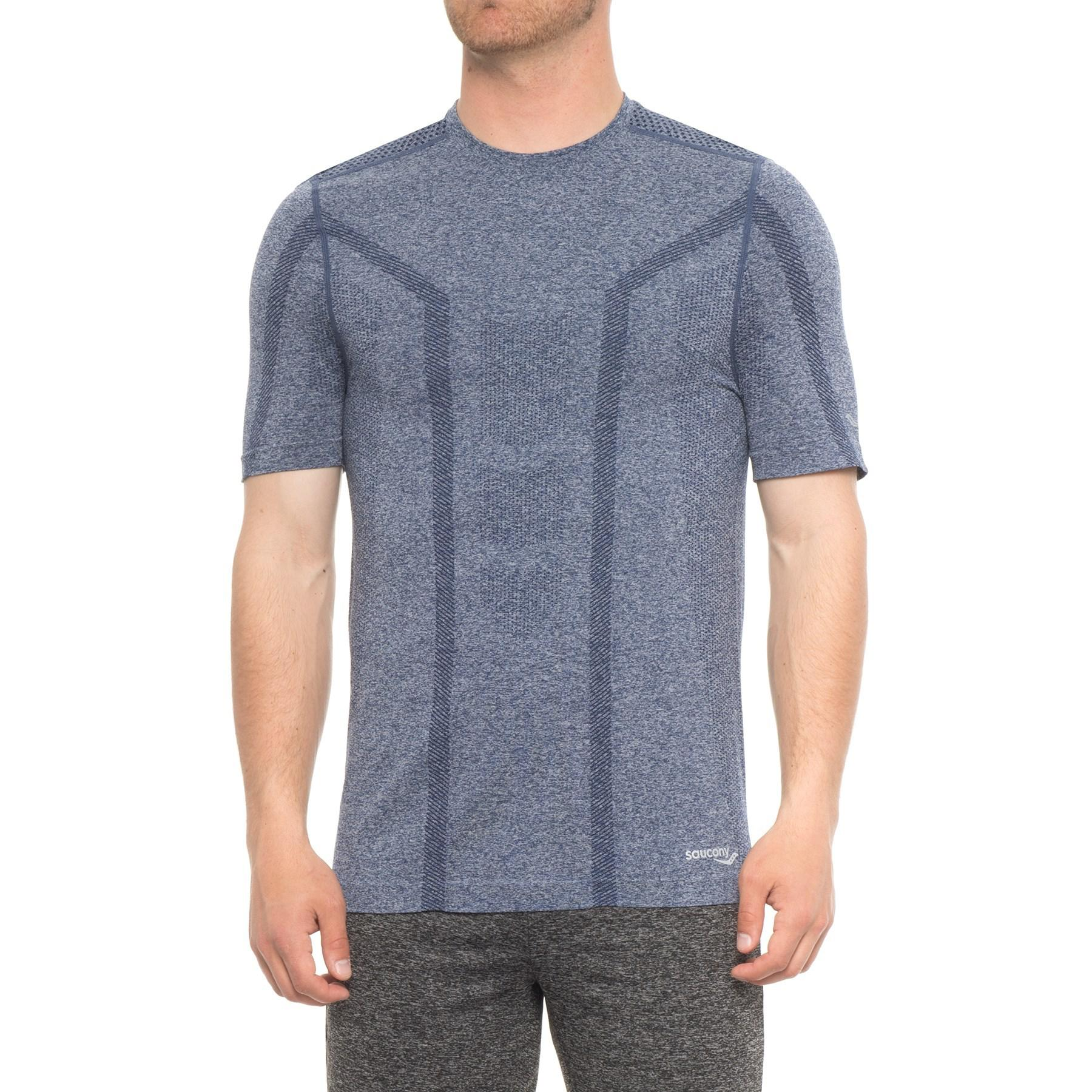 fca0a079 Saucony - Blue Seamless Body-mapped Heathered Shirt for Men - Lyst. View  fullscreen