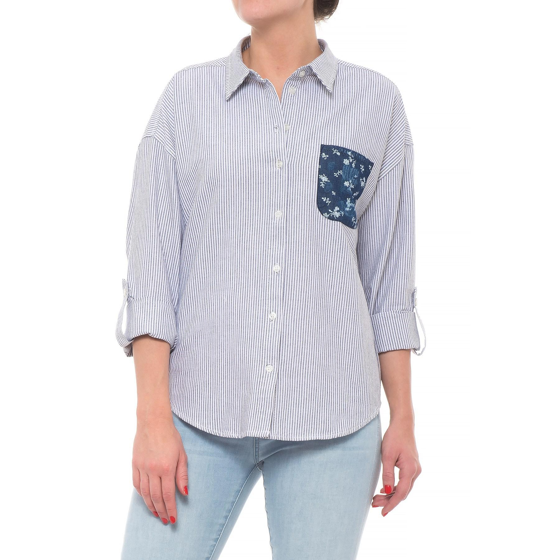 a3a2227f9f Lyst - Velvet Heart Button Down Patch Pocket Shirt in Blue