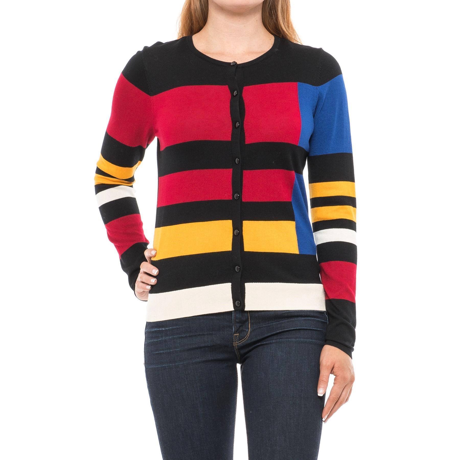 Lyst - August Silk Color-block Cardigan Sweater (for Women) a7ef7fda3