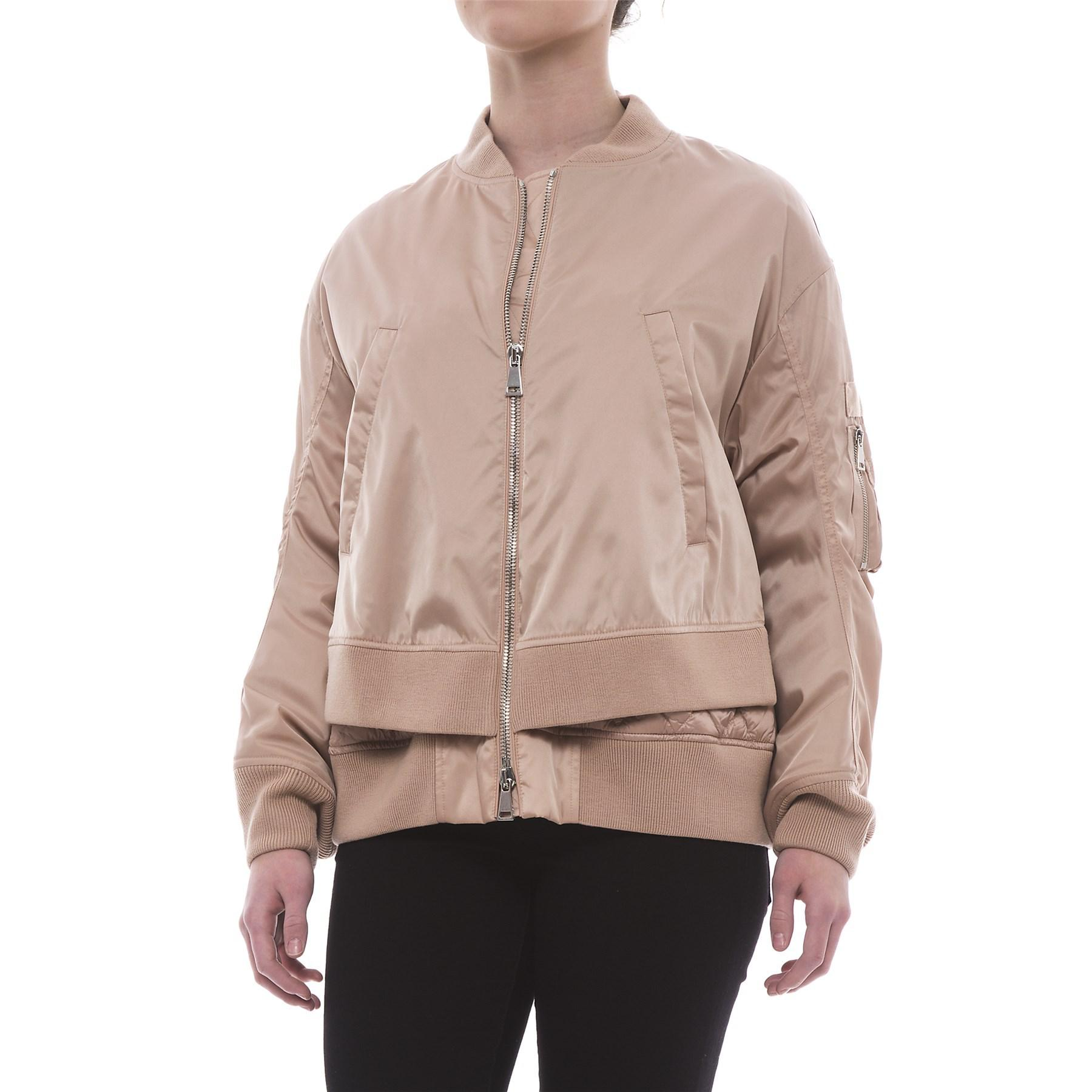 a6635495d Lyst - Moncler Aralia Layered Down Bomber Jacket (for Women) in Pink
