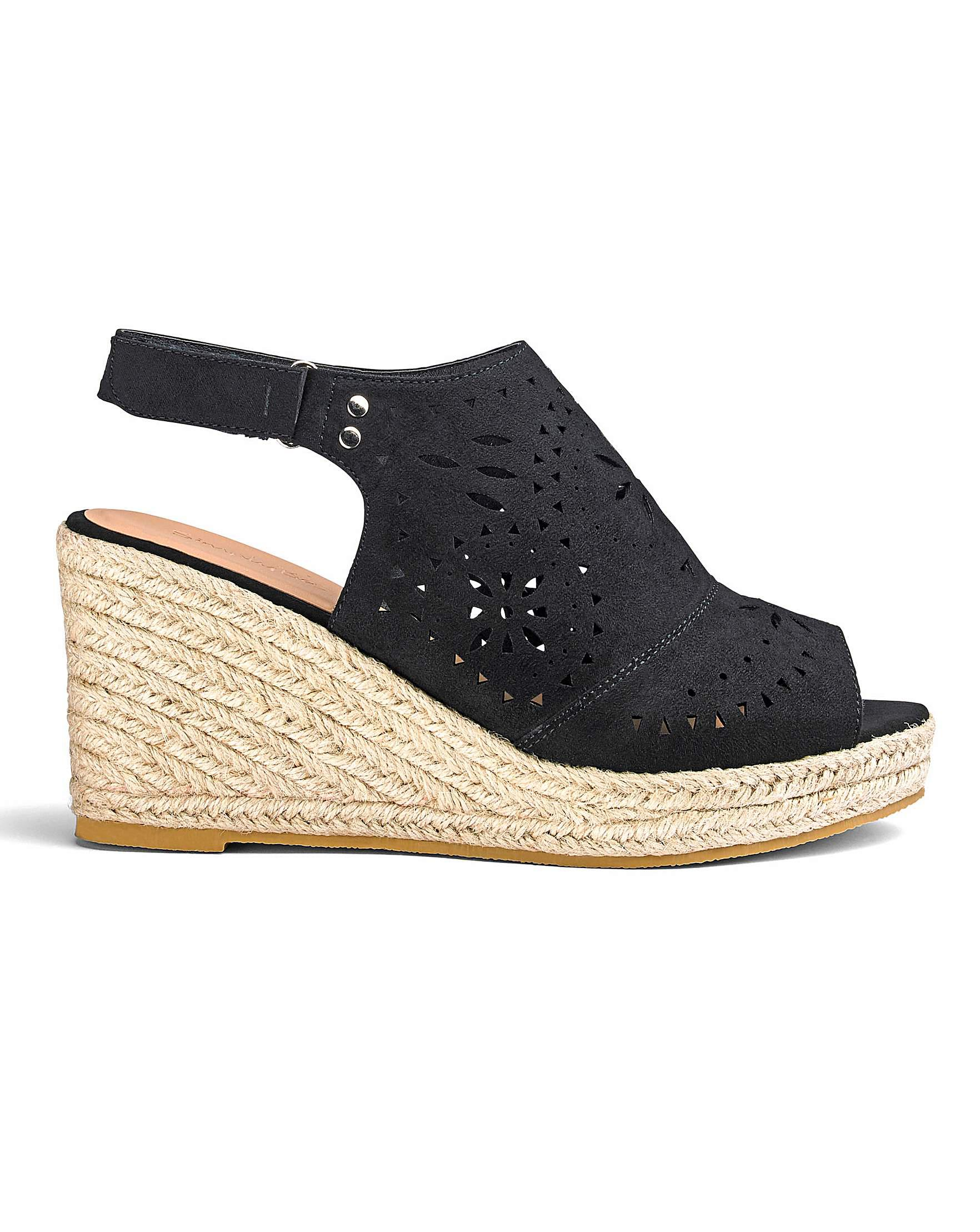 6c38faa6abfa Simply Be Elsa Cut Out Wedges Extra Wide Fit in Black - Lyst