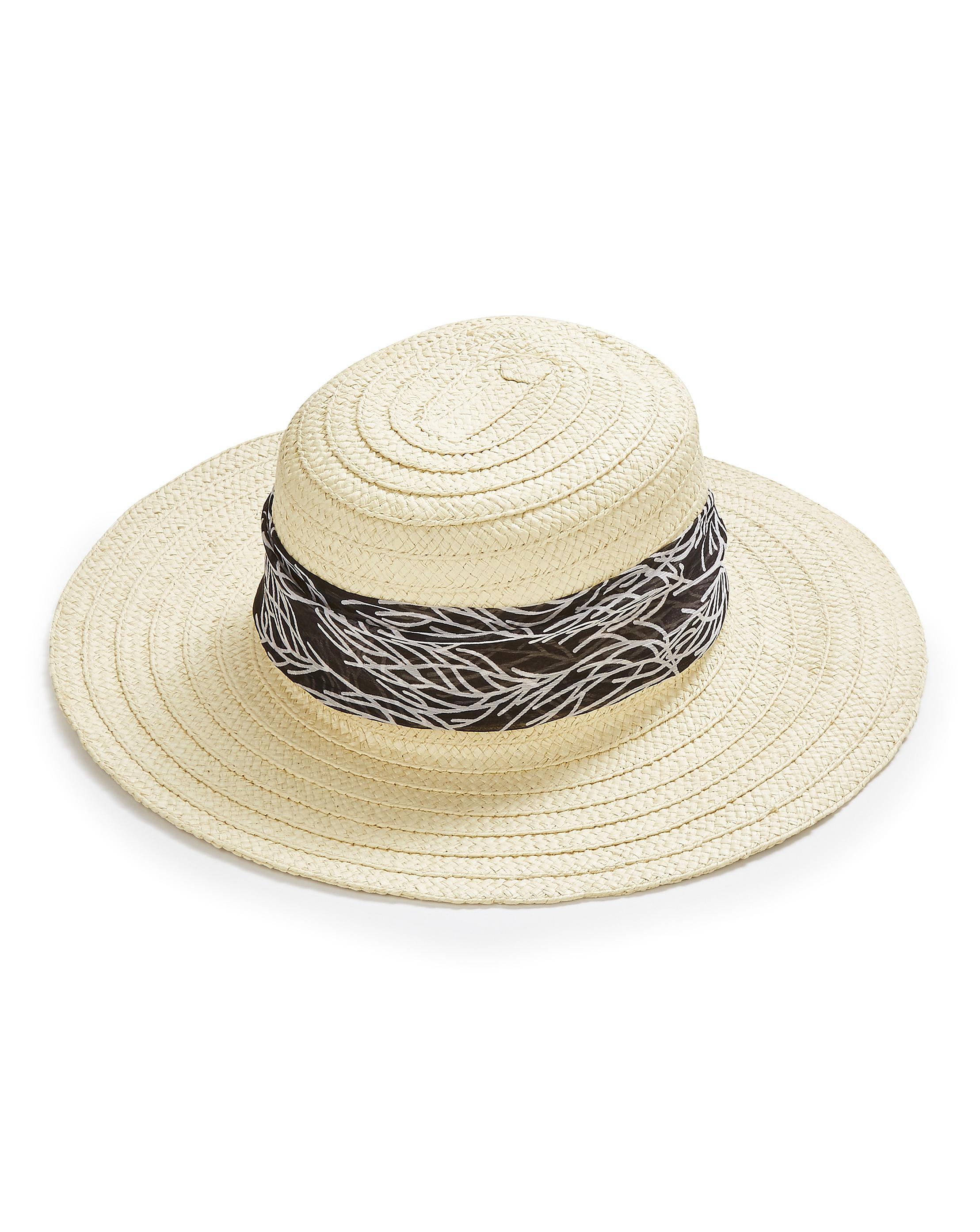 Lyst - Simply Be Scarf Tie Straw Hat in Natural ae64748487d