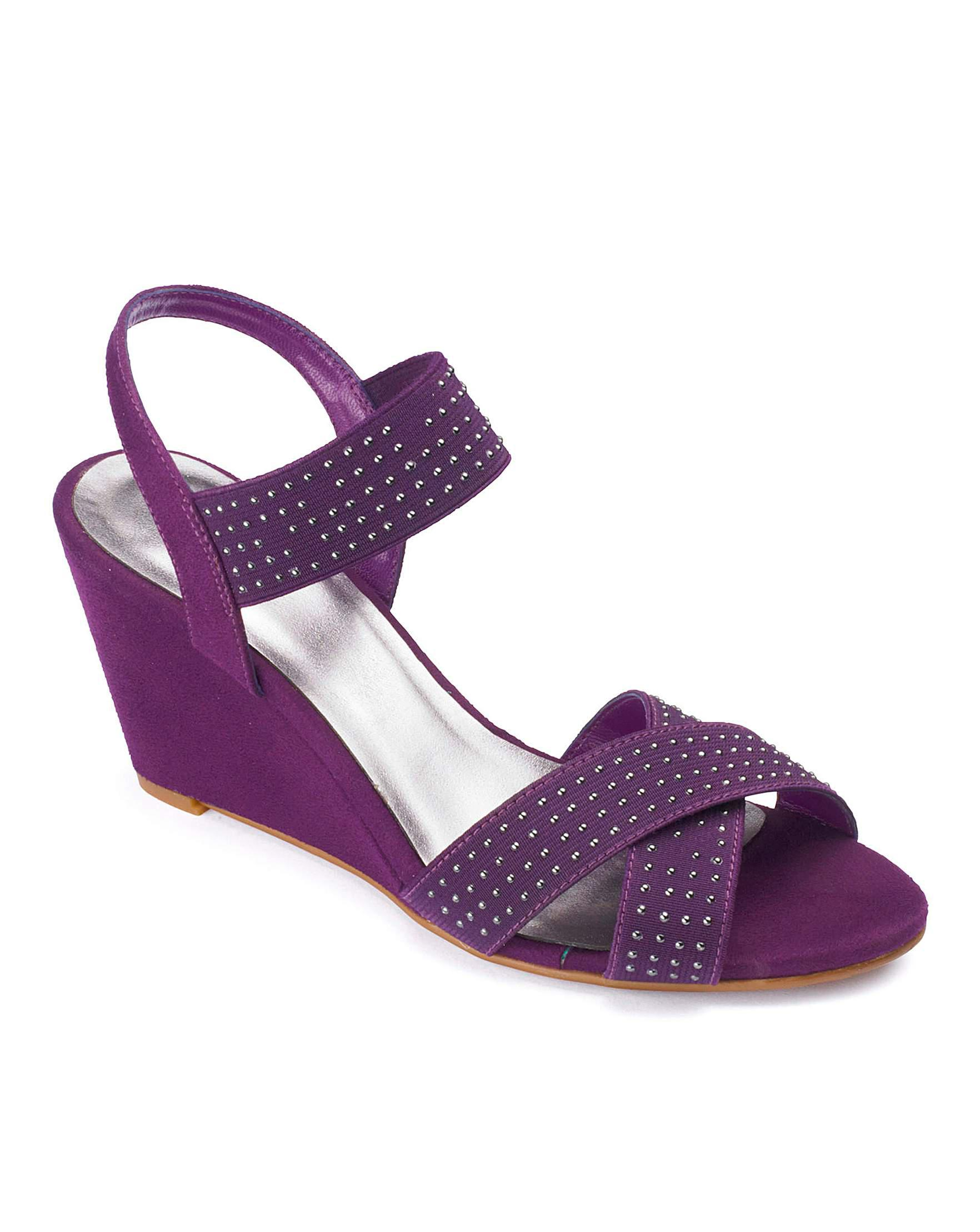 82893a8b3caa Sole Diva Elasticated Wedge E Fit in Purple - Lyst