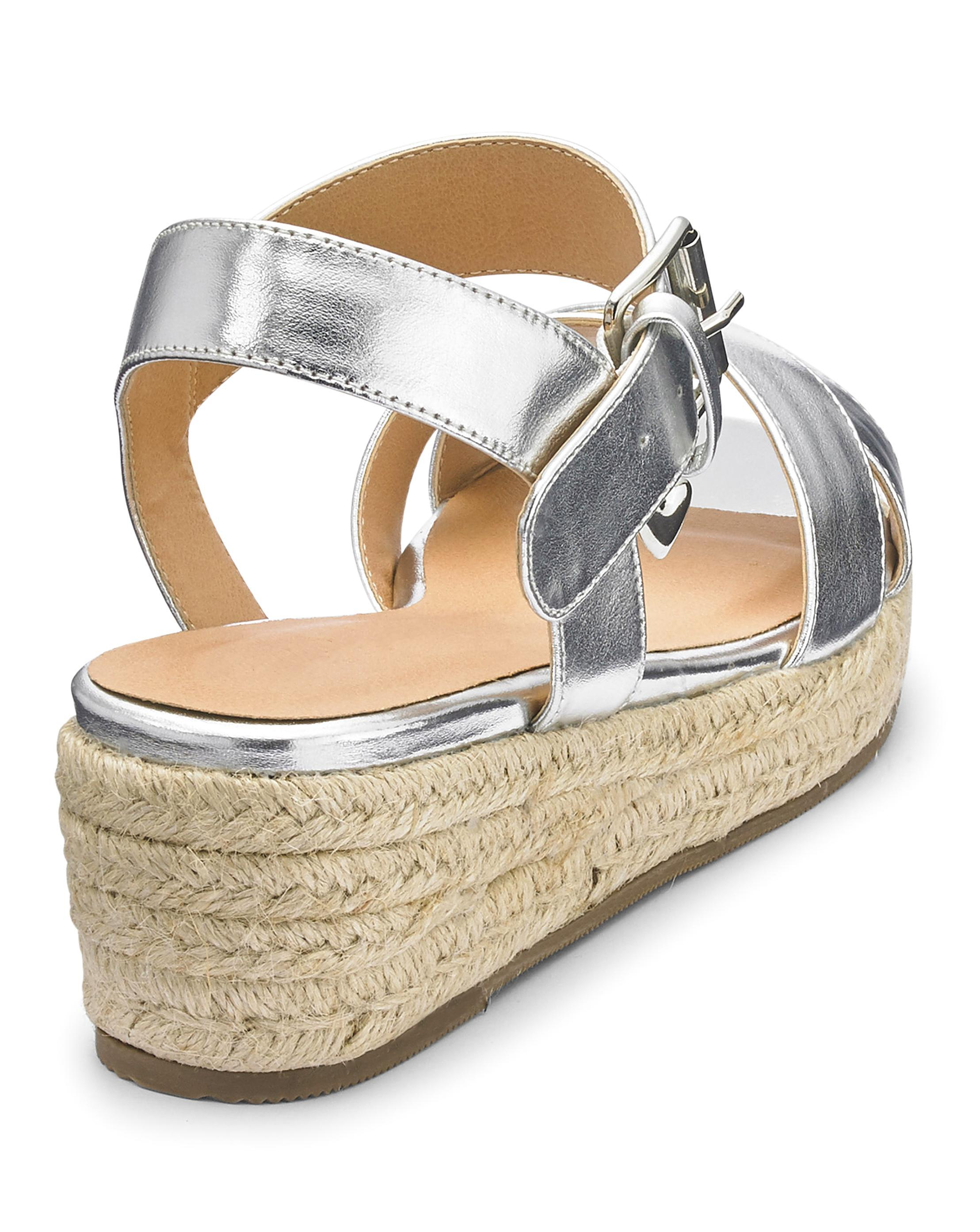 4828c349f2d7 Lyst - Simply Be Indra Espadrille Wedge Wide Fit in Metallic