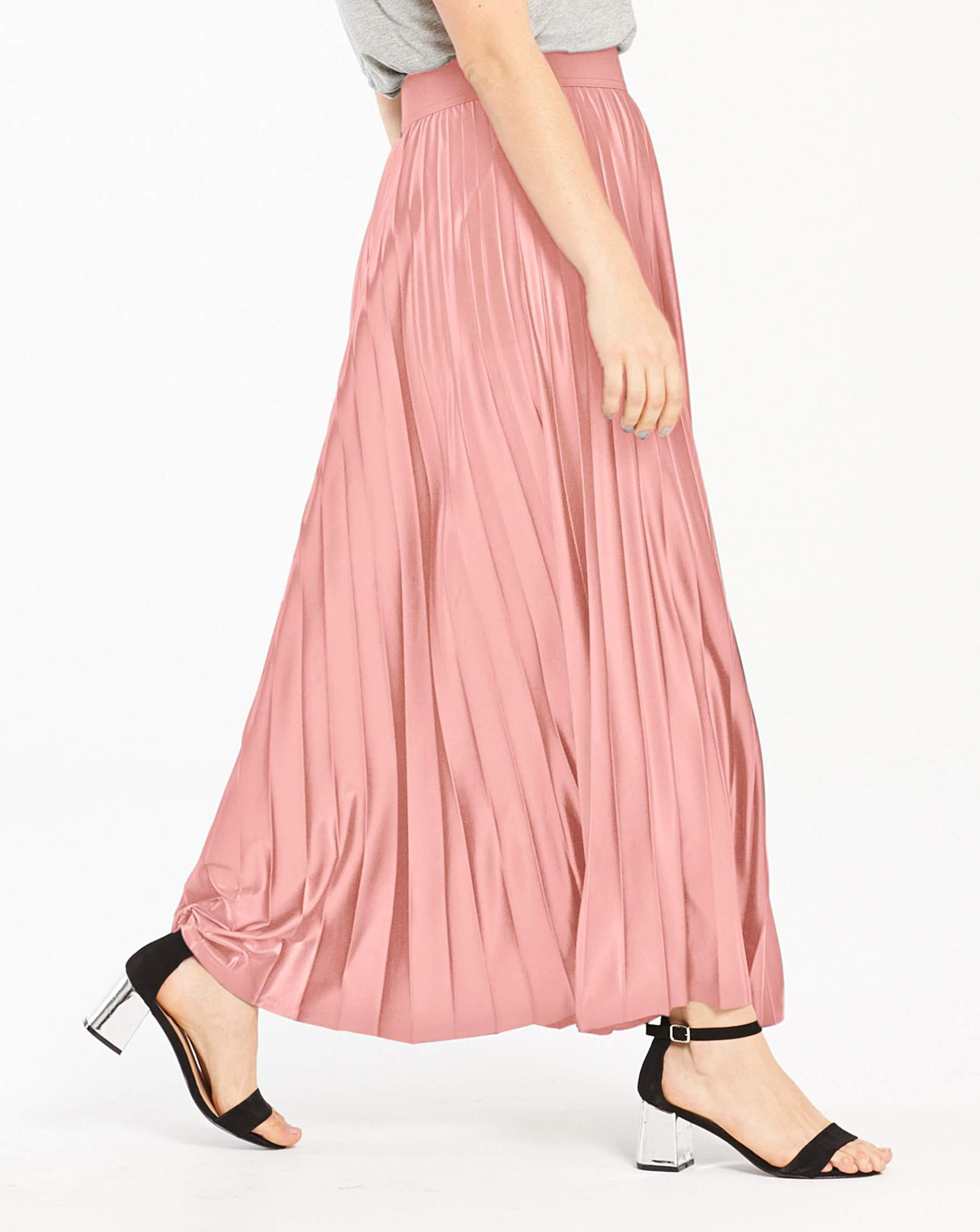 3265d26f59f Simply Be Wet Look Sunray Pleat Maxi Skirt in Pink - Lyst