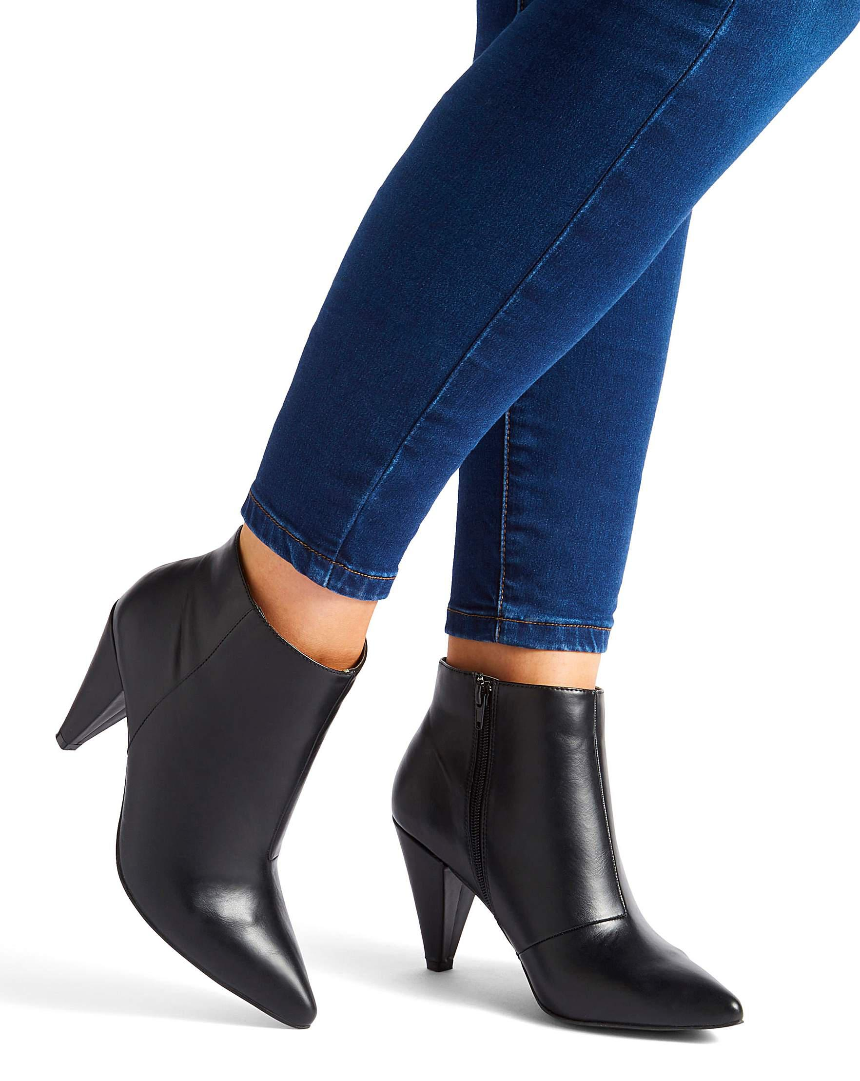 231ab6357f3b Simply Be Lillibet Cone Heel Boots Wide Fit in Black - Lyst
