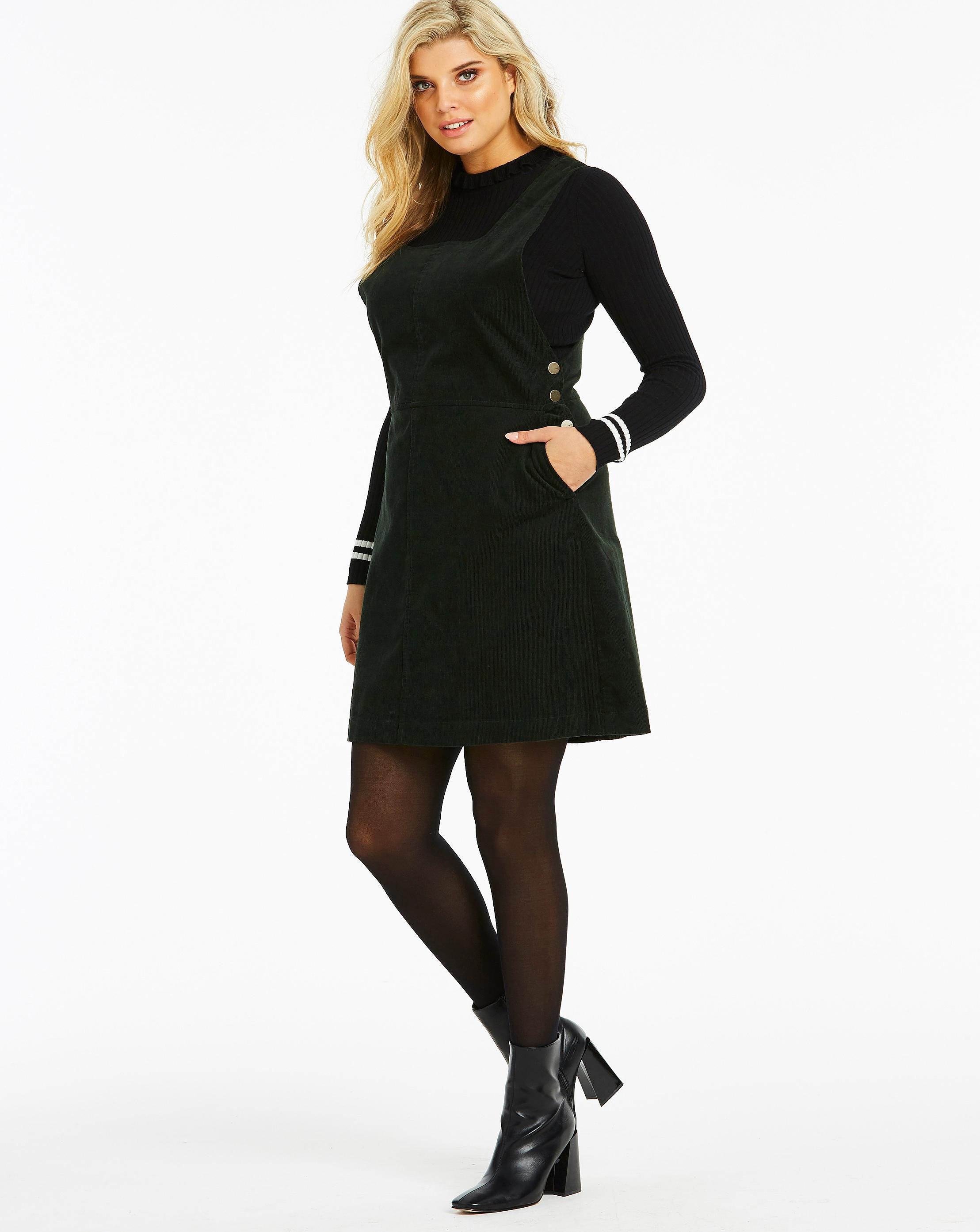 special section highly praised latest releases Lyst - Simply Be Oasis Curve Cord Pinafore Dress in Black