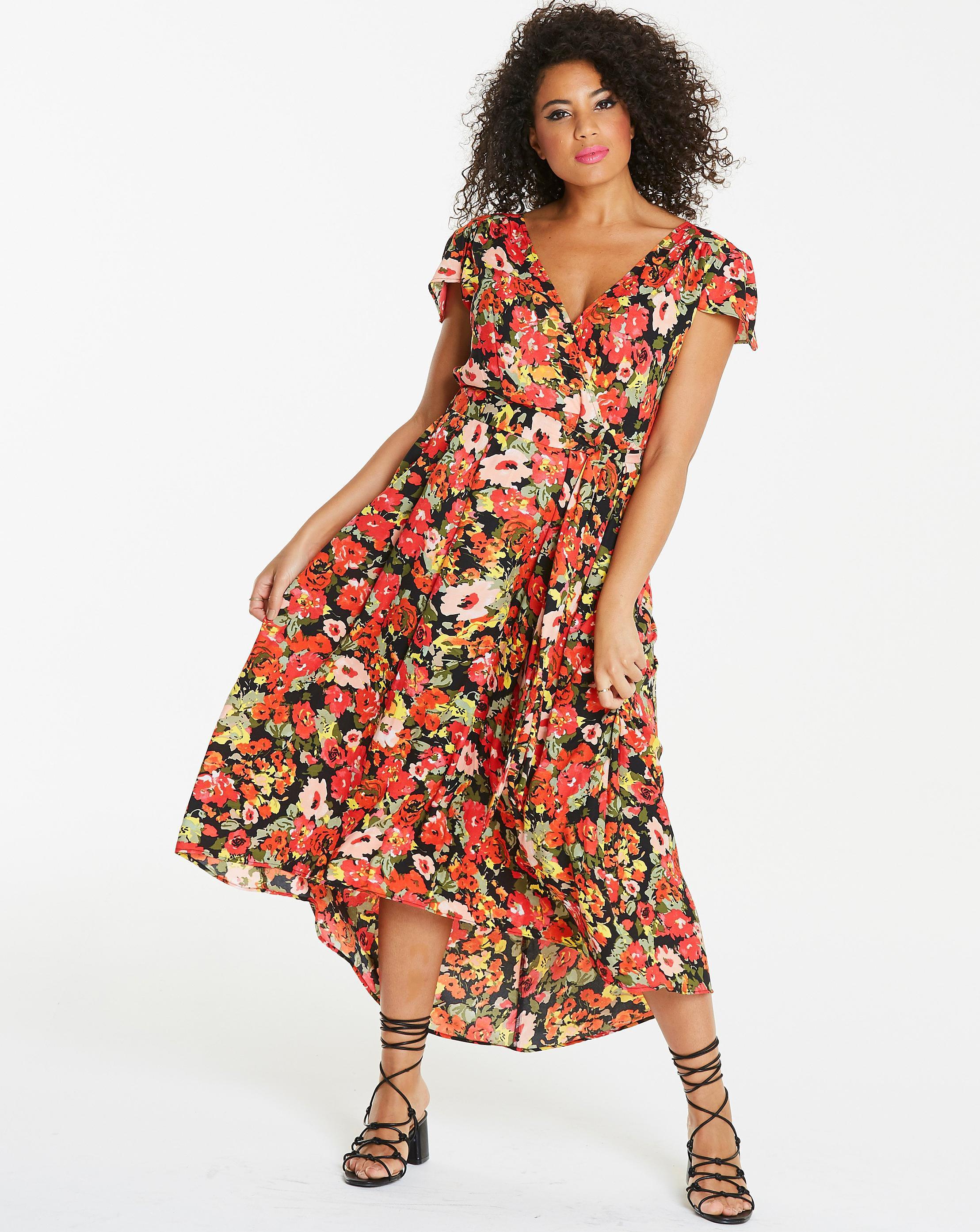 3c0e0472895 Simply Be. Women s Ax Paris Curve Dip Low Hem Floral Maxi Dress